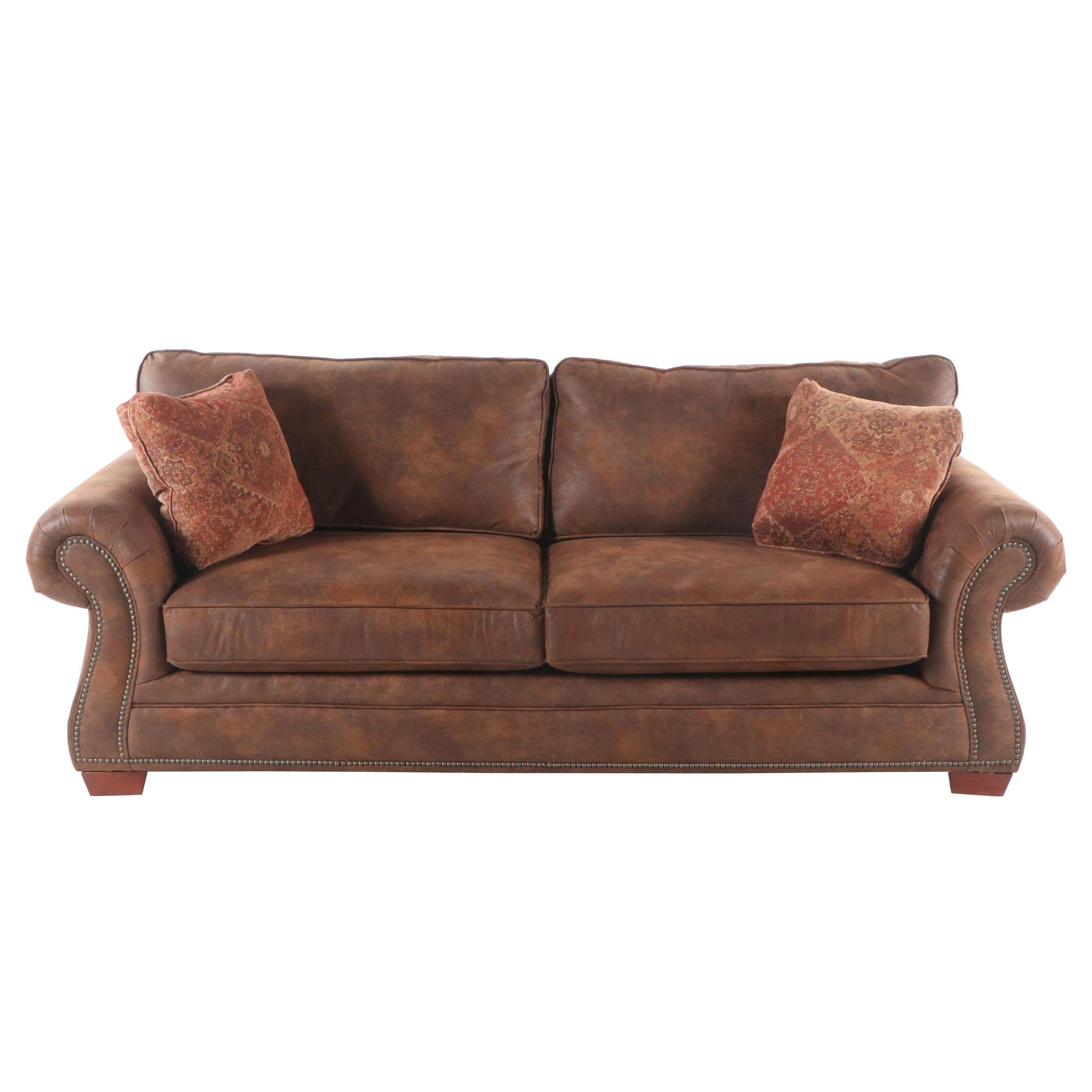 Contemporary Rolled Arm Microsuede Sofa