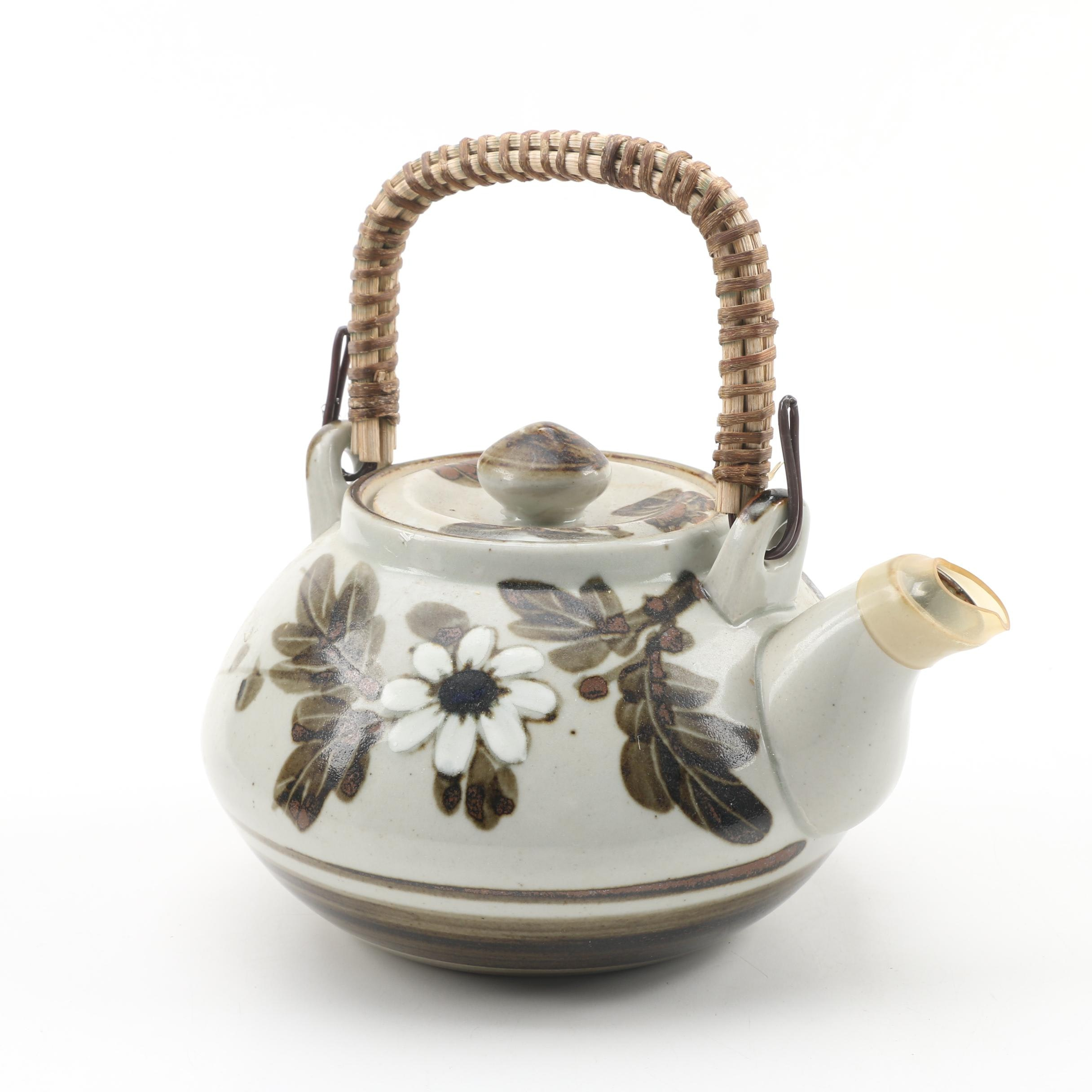 OMC Japanese Pottery Teapot with Wicker Handle, Late 20th Century