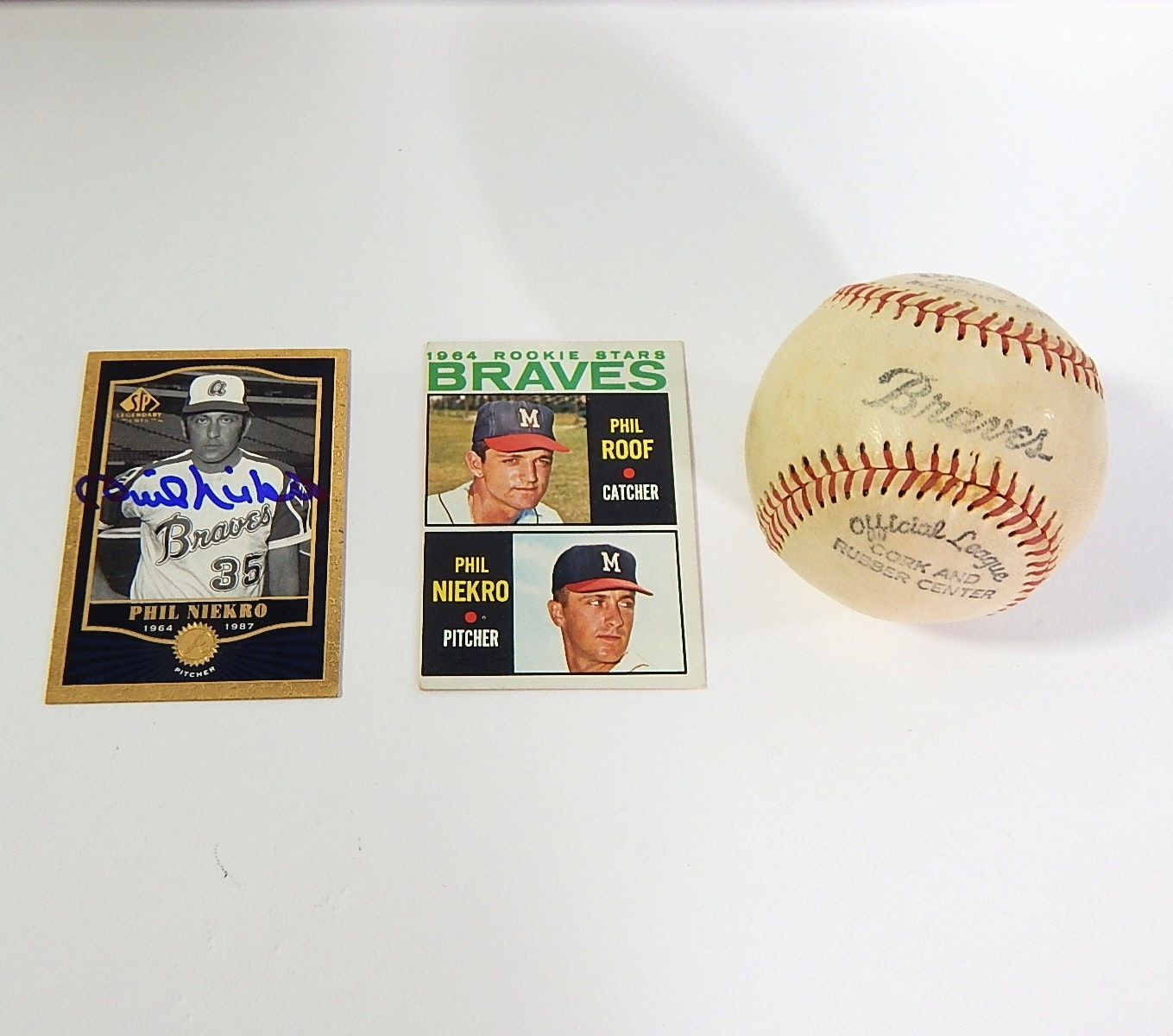 (HOF) Phil Niekro 1964 Baseball Rookie Card, Signed Card, and Braves Baseball