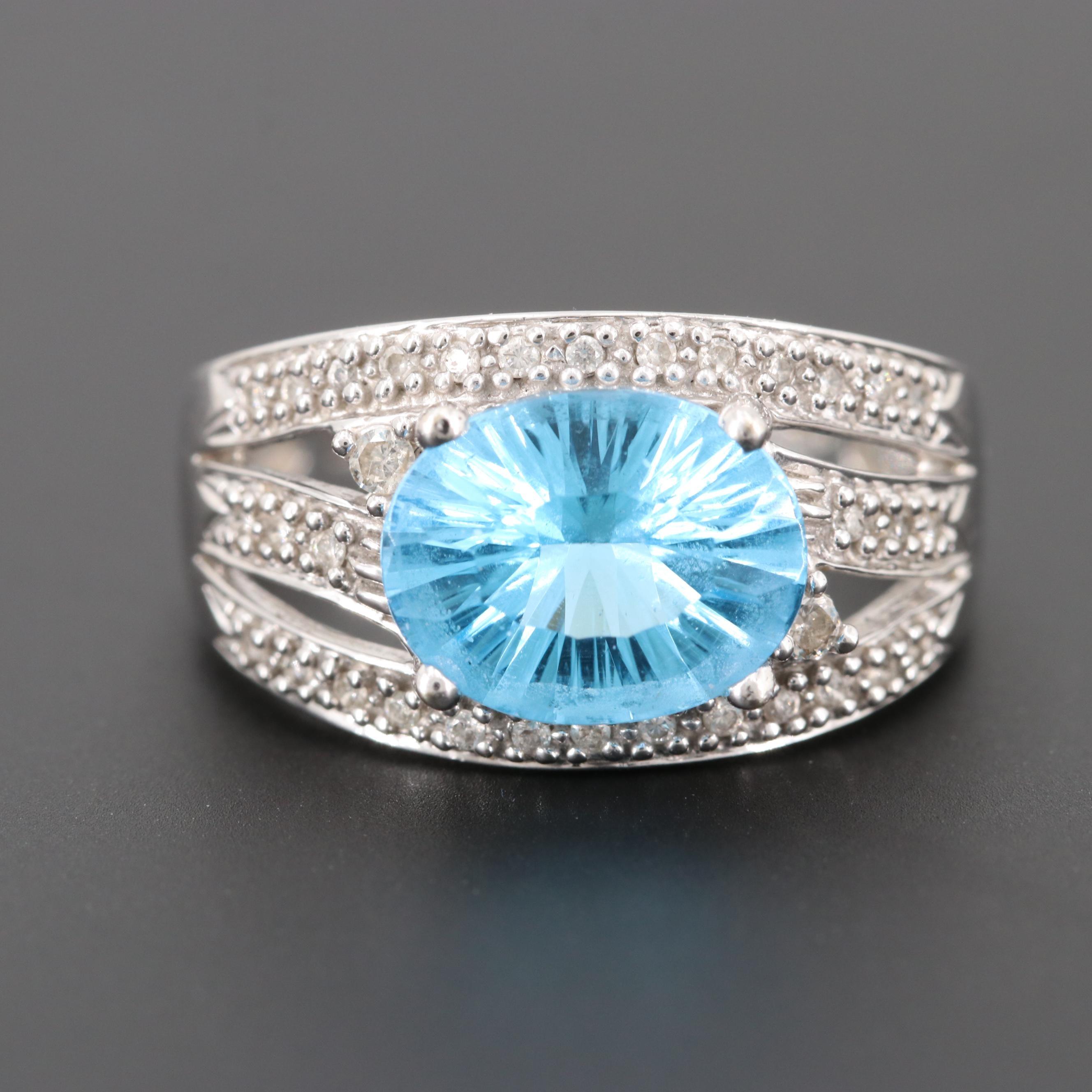 Le Vian 14K White Gold Blue Topaz and Diamond Ring