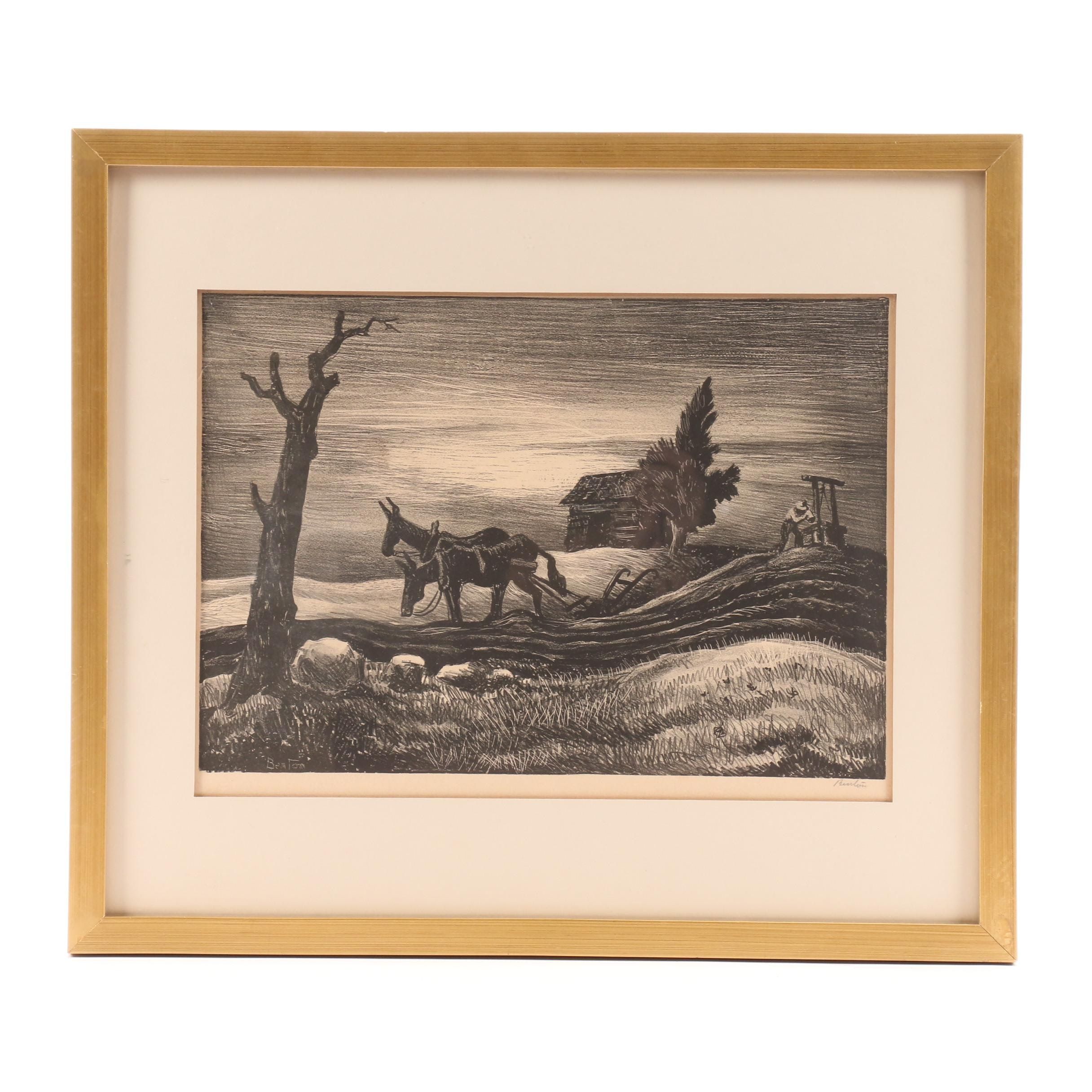 "Thomas Hart Benton Lithograph ""A Drink of Water"""