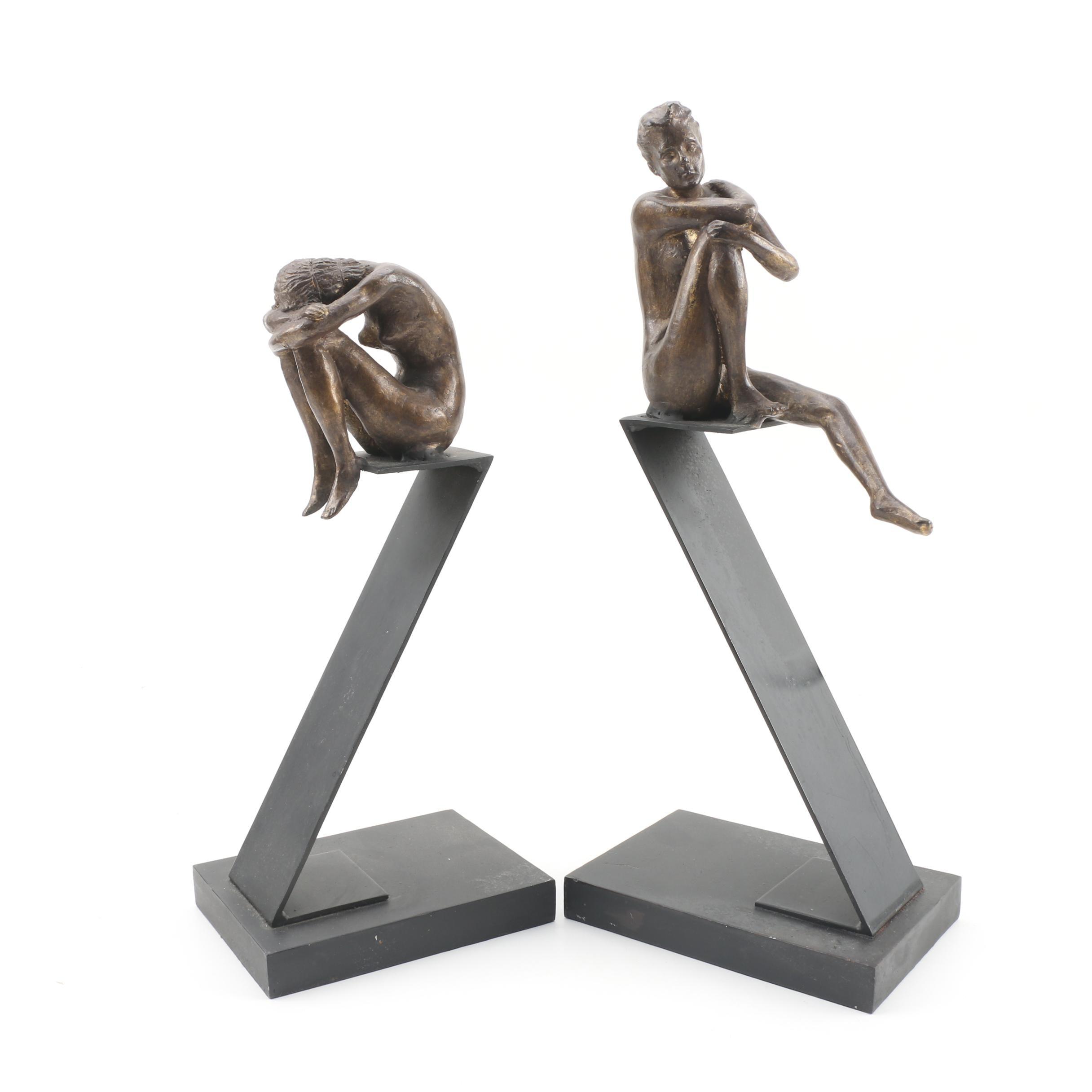 Bronze Seated Nude Female Sculpture