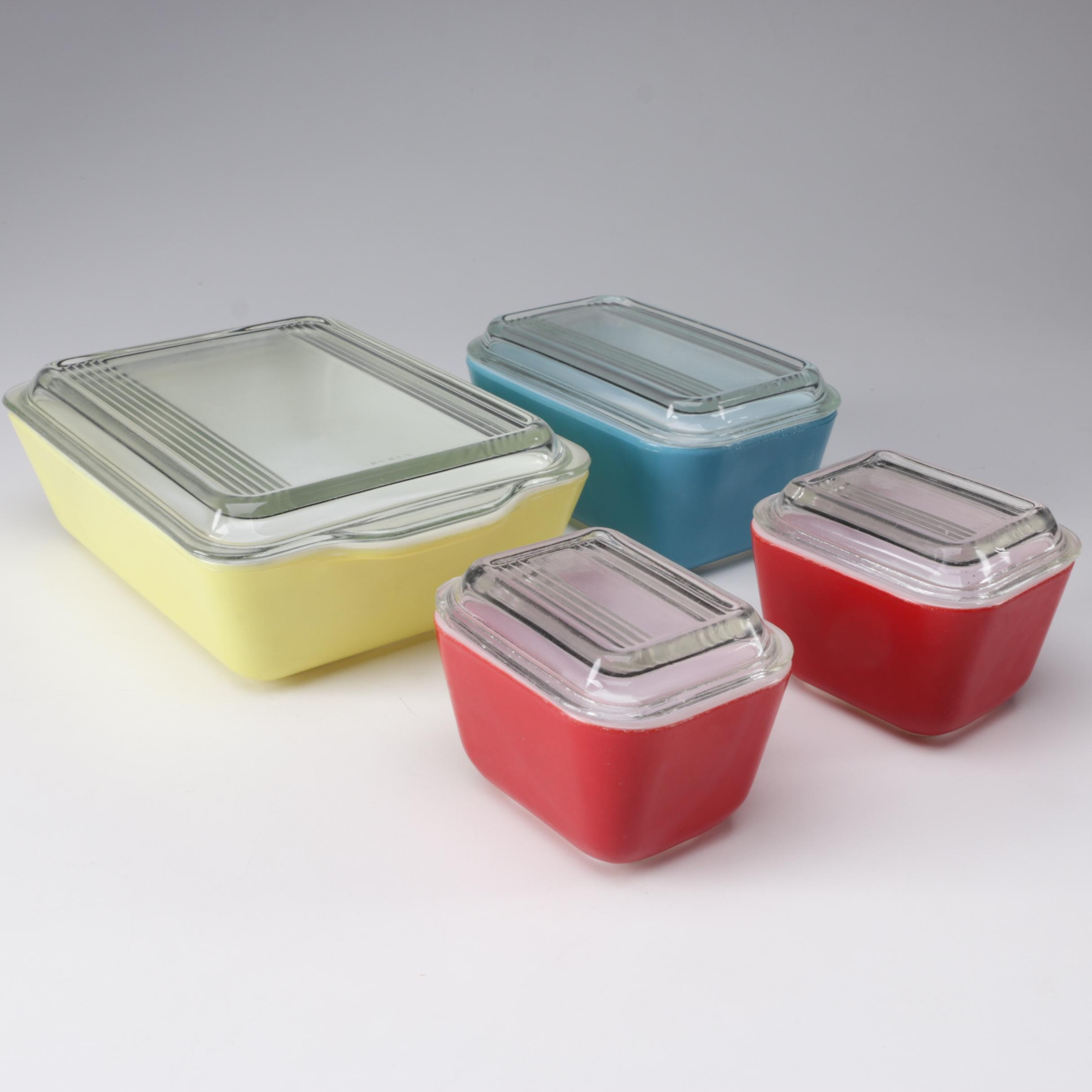 "Pyrex ""Primary Colors"" Refrigerator Dishes, Mid-Century"