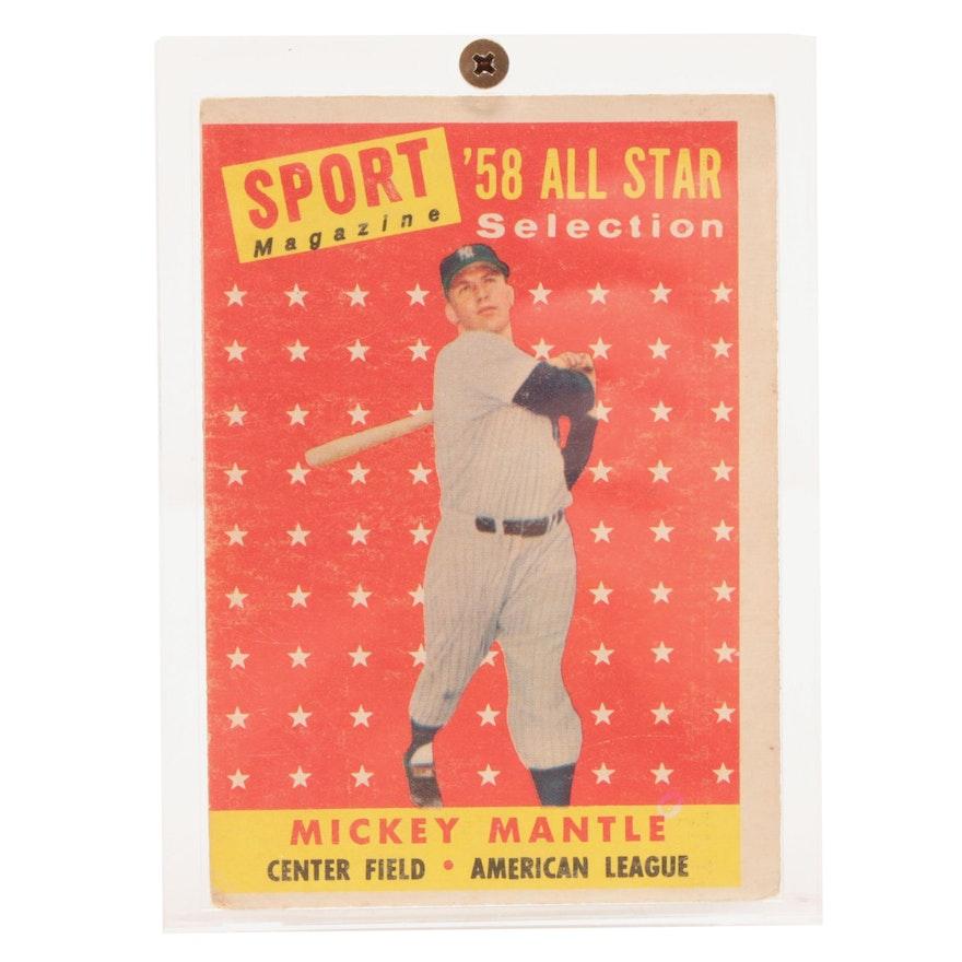 1958 Hof Mickey Mantle Topps Sport Magazine 487 All Star Baseball Card