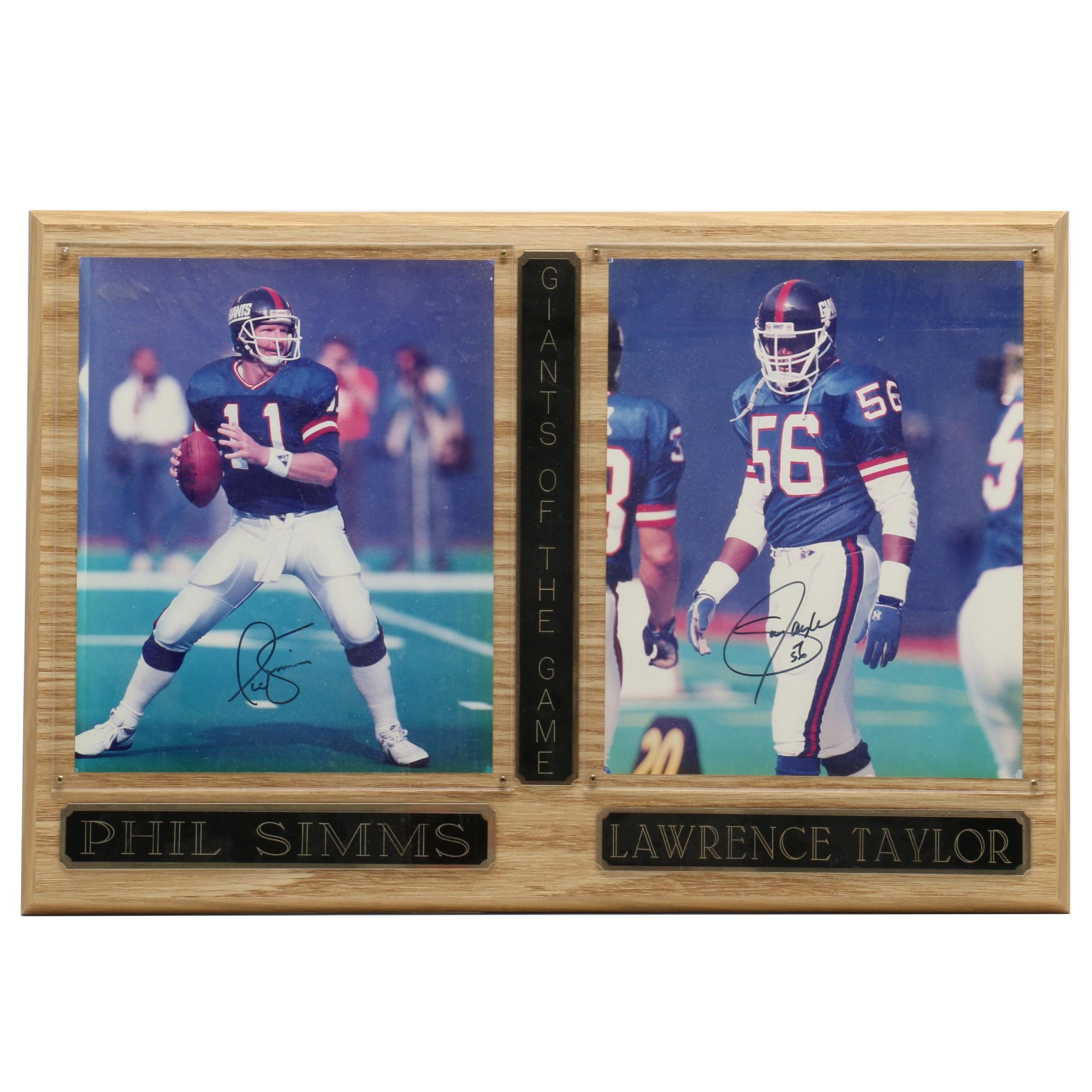 Phil Simms and Lawrence Taylor Signed Display  COA