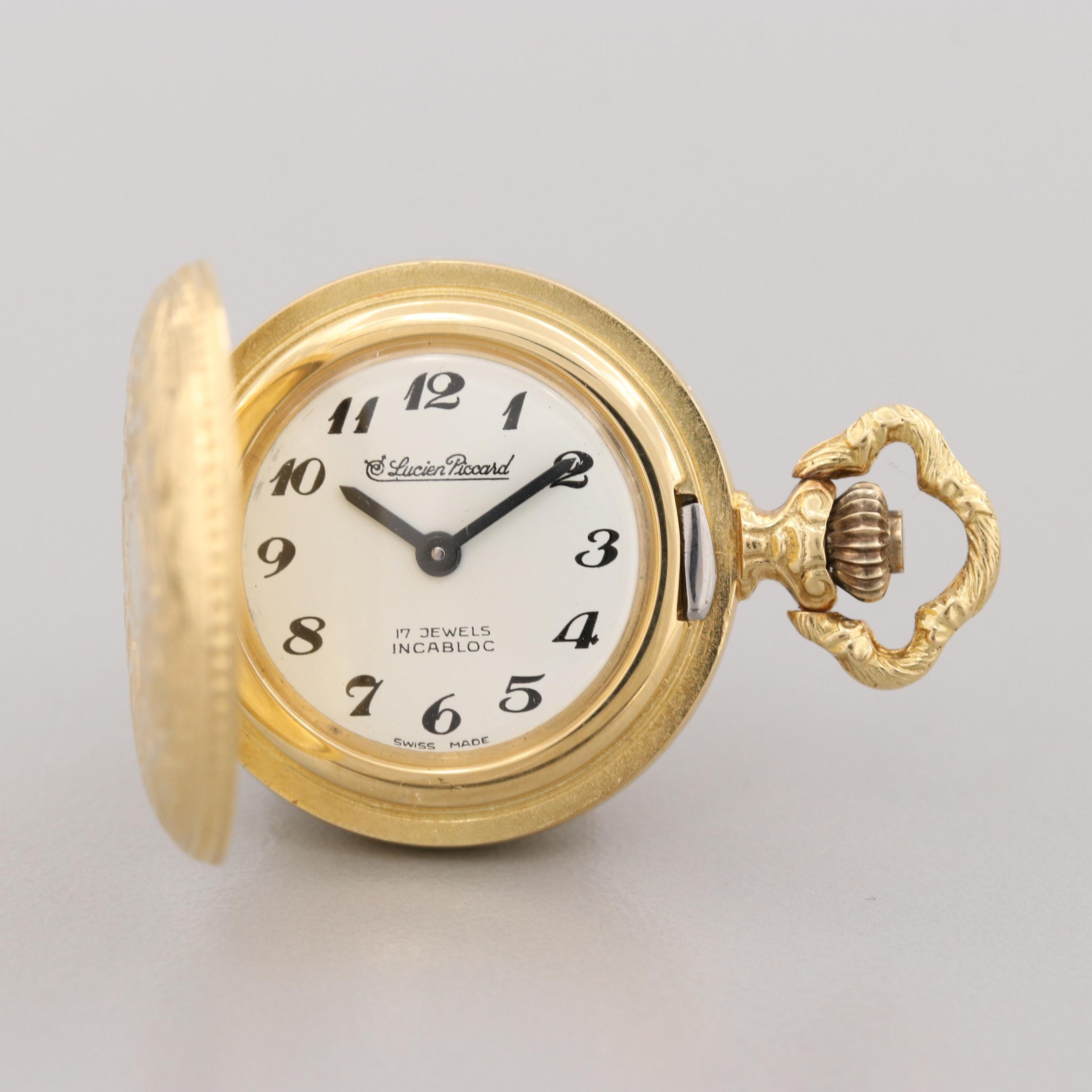 Lucien Piccard Petite 18K Yellow Gold Pocket Watch
