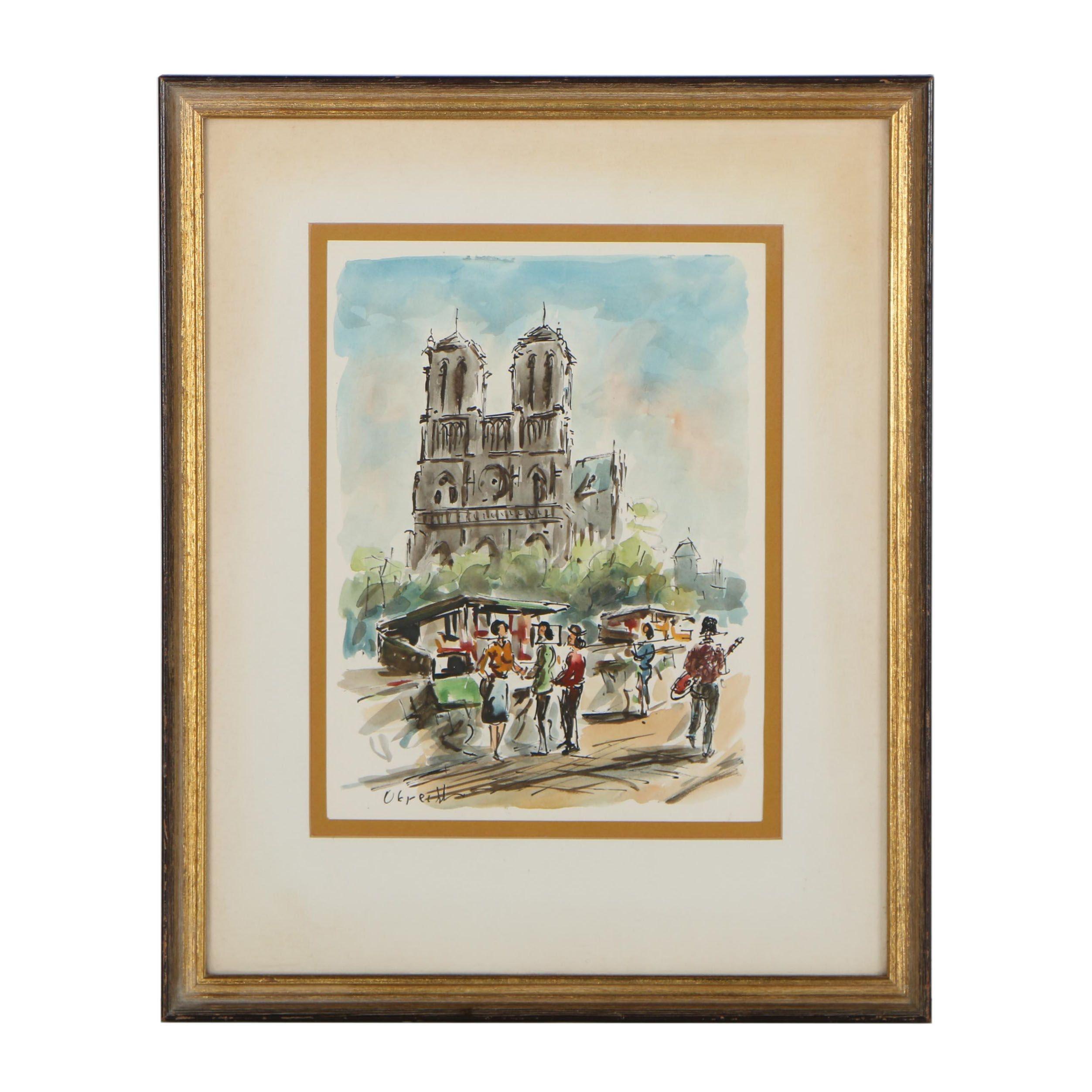 Obrecht Watercolor Painting of Paris Street Scene