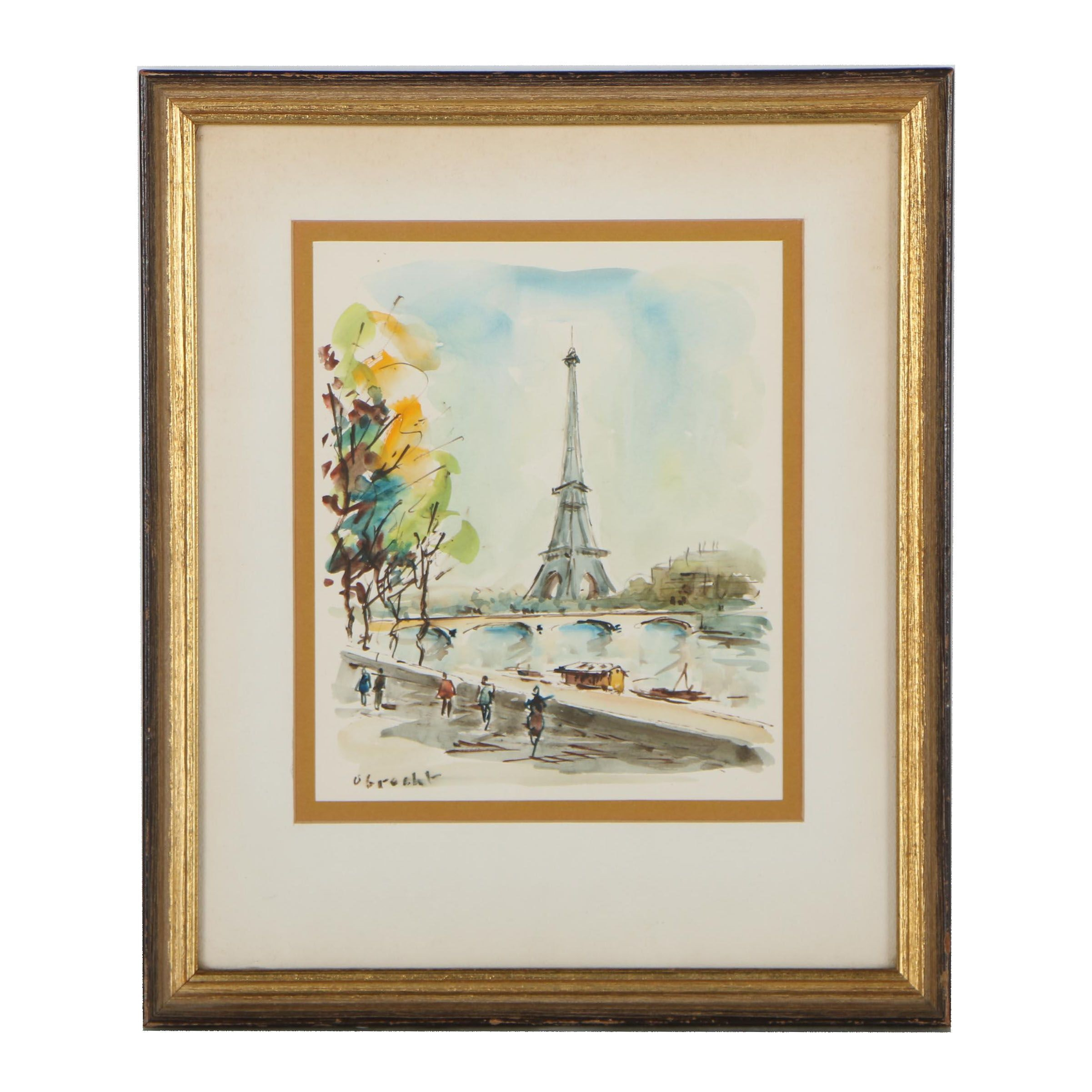 Obrecht Watercolor Painting of Paris Street