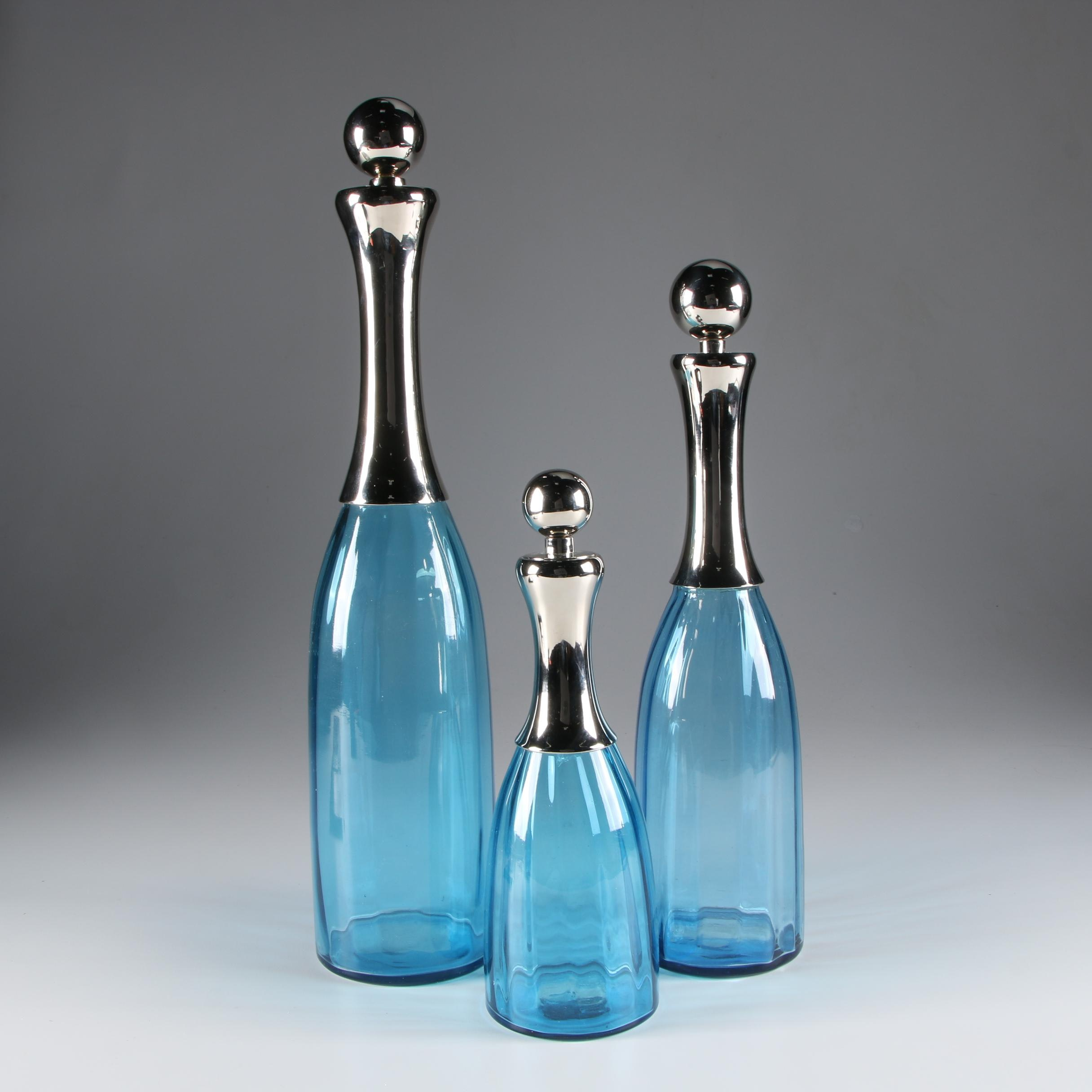Chrome and Painted Blue Glass Three-Piece Decanter Set, Mid-Century