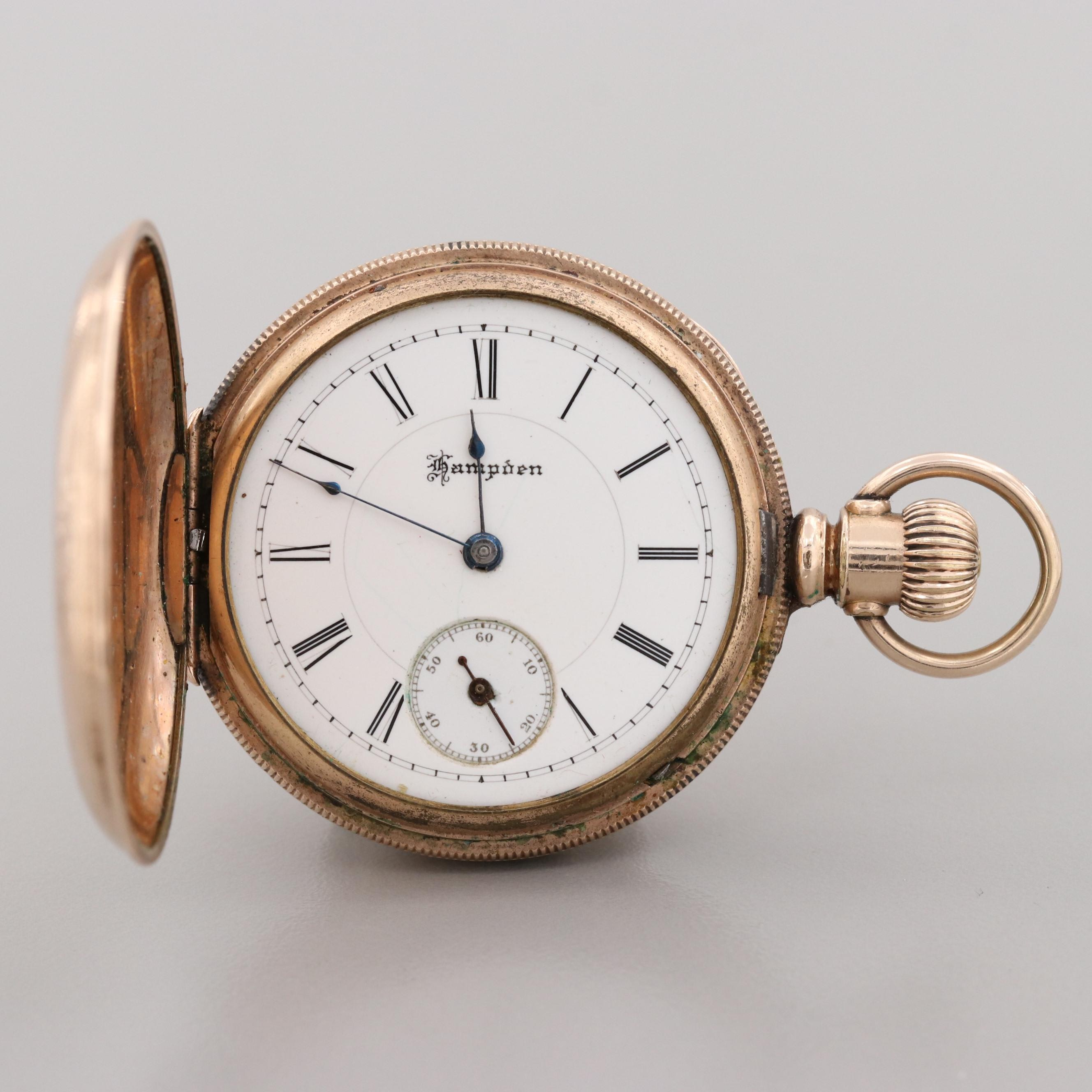 Antique Hampden Gold Filled Hunter Case Pocket Watch, 1888