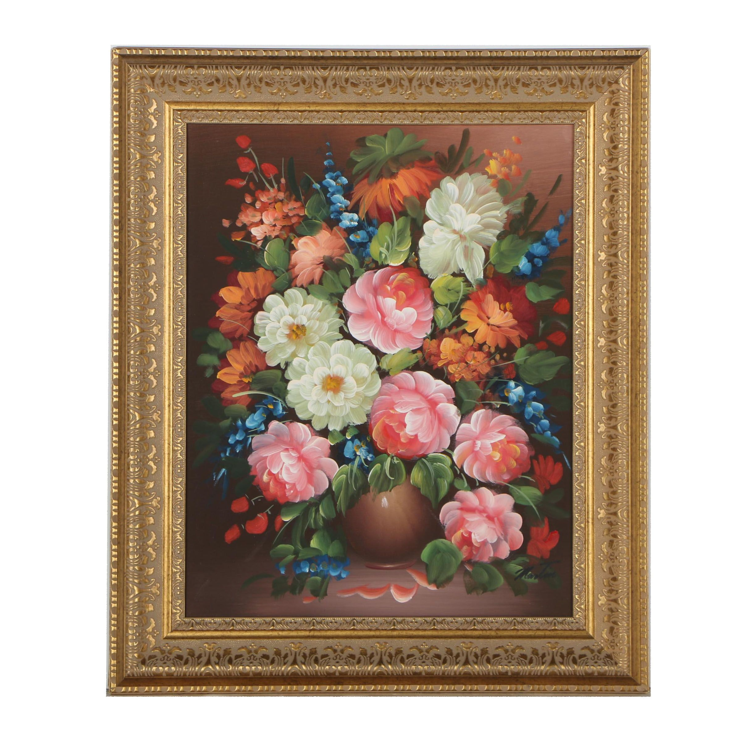 Martin Oil Painting of a Floral Still Life