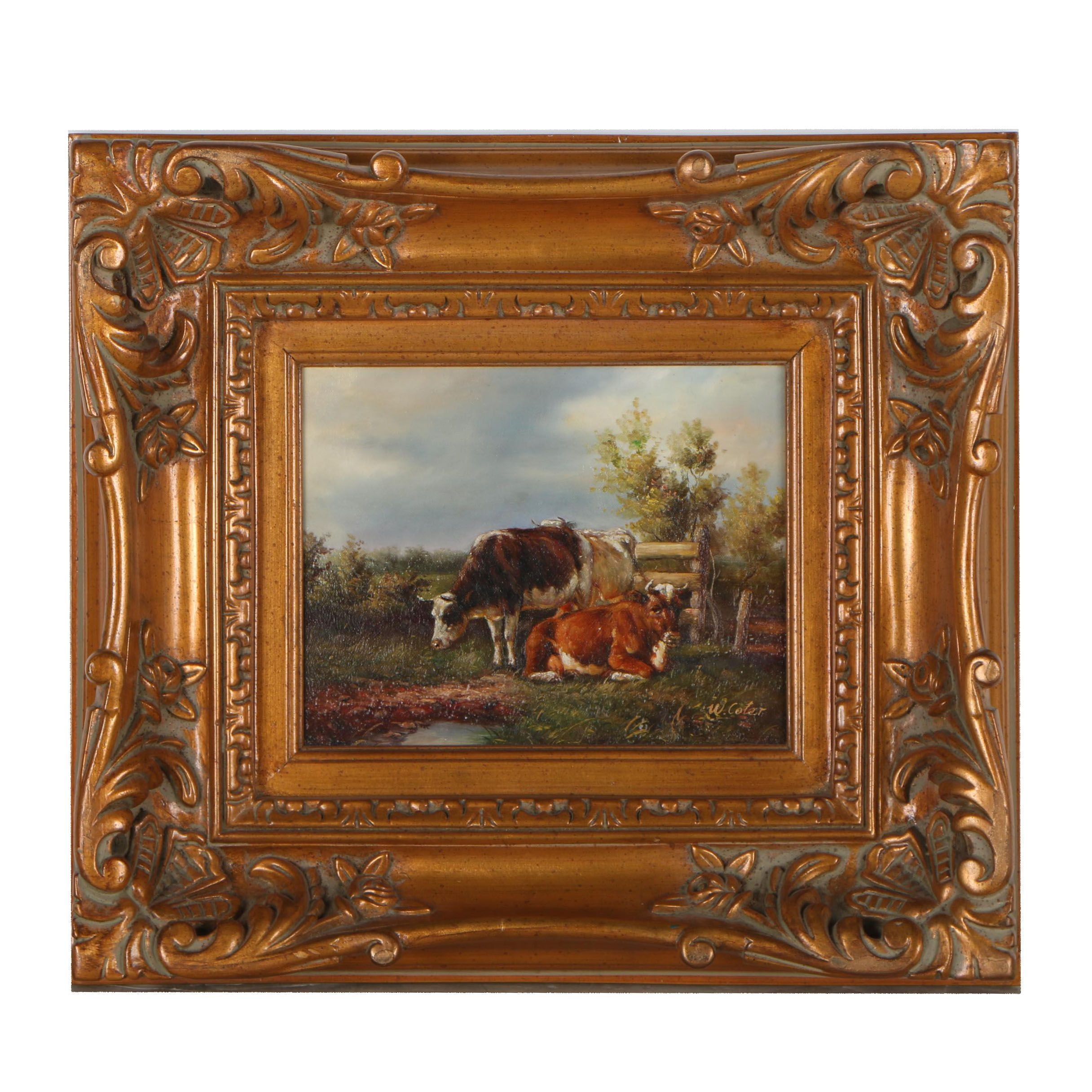 W. Coter Pastoral Oil Painting