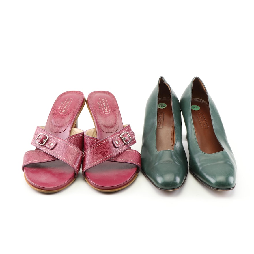a40ce495167 Women s Coach Leather Heeled Slide Sandals and Pumps   EBTH