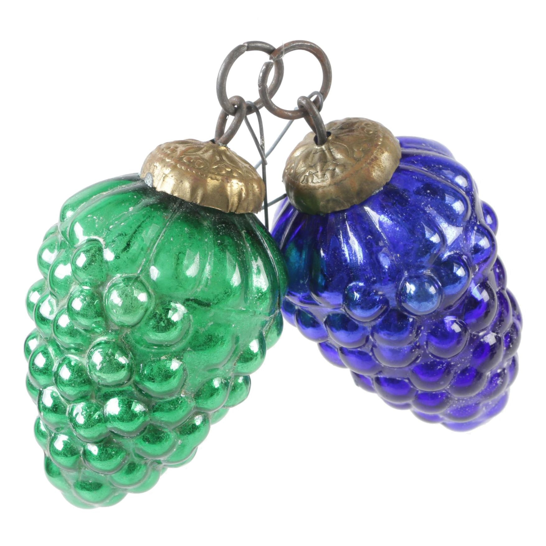 Pair of German Pressed Colored Glass Grape Cluster Kugel Ornaments, Late 19th C.
