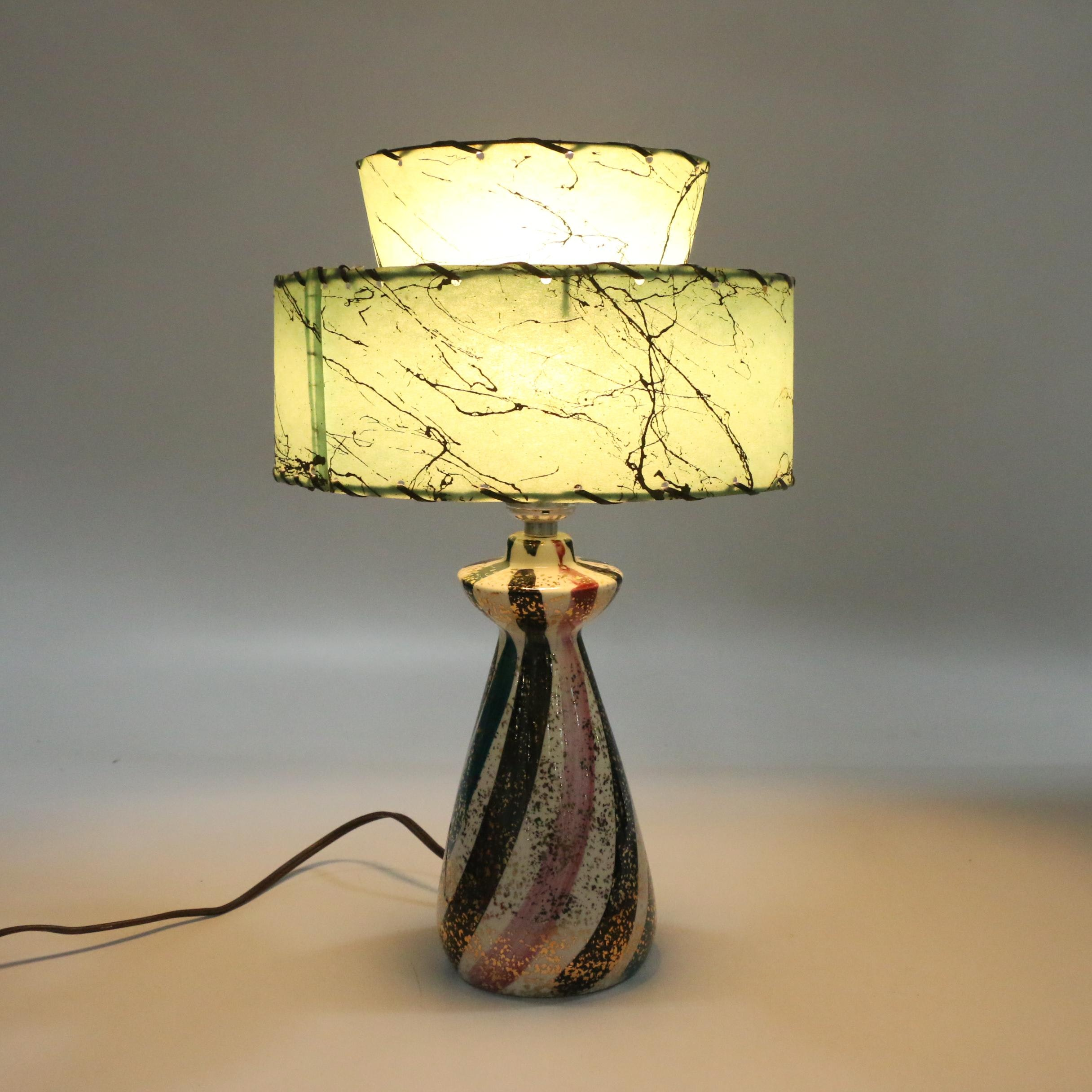Mid Century Modern Ceramic Table Lamp with Fiberglass Shade