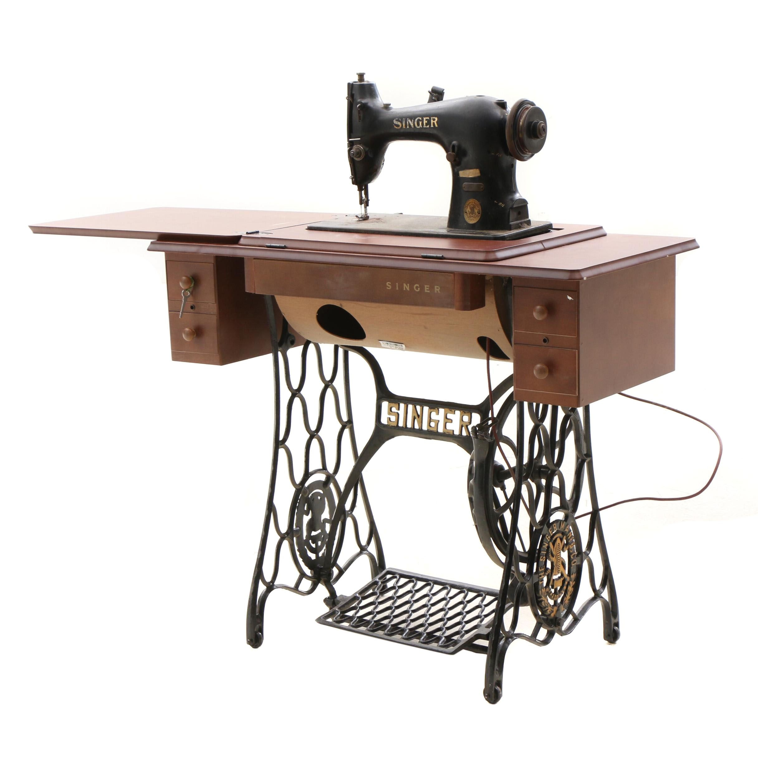 Vintage Refinished Mahogany Singer Sewing Table