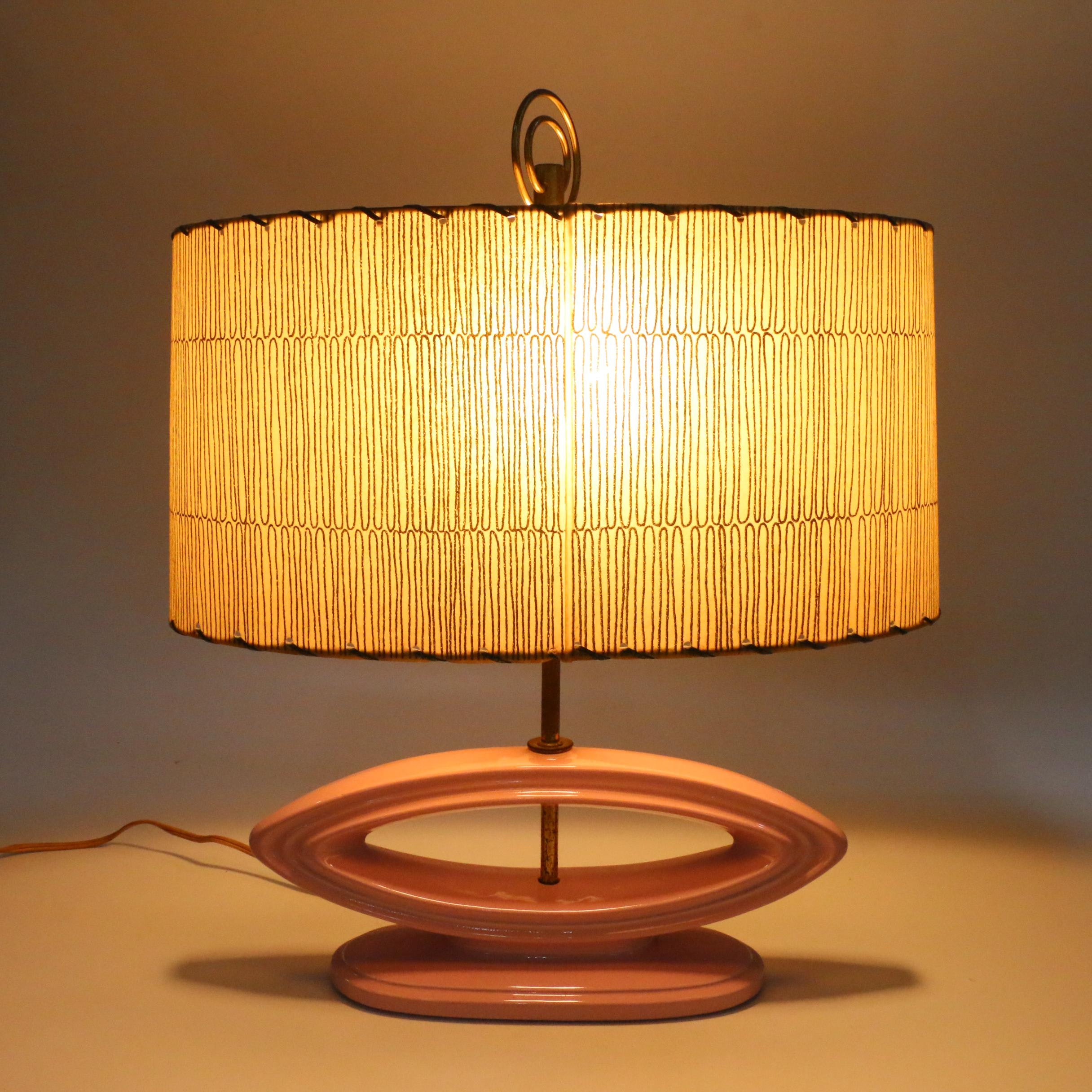 Mid Century Modern Pink Ceramic Table Table Lamp with Paper Shade