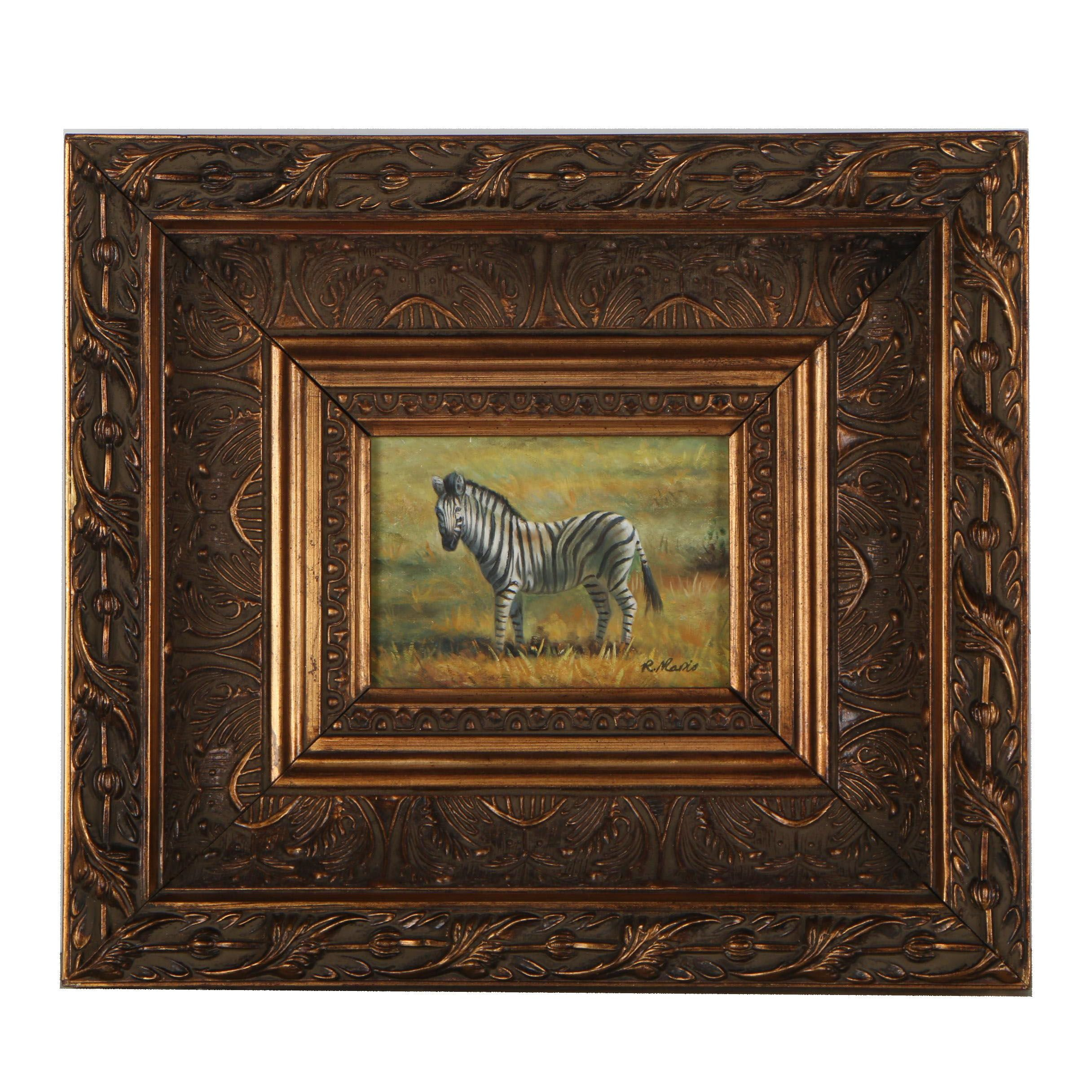 R. Mario Oil Painting of a Zebra