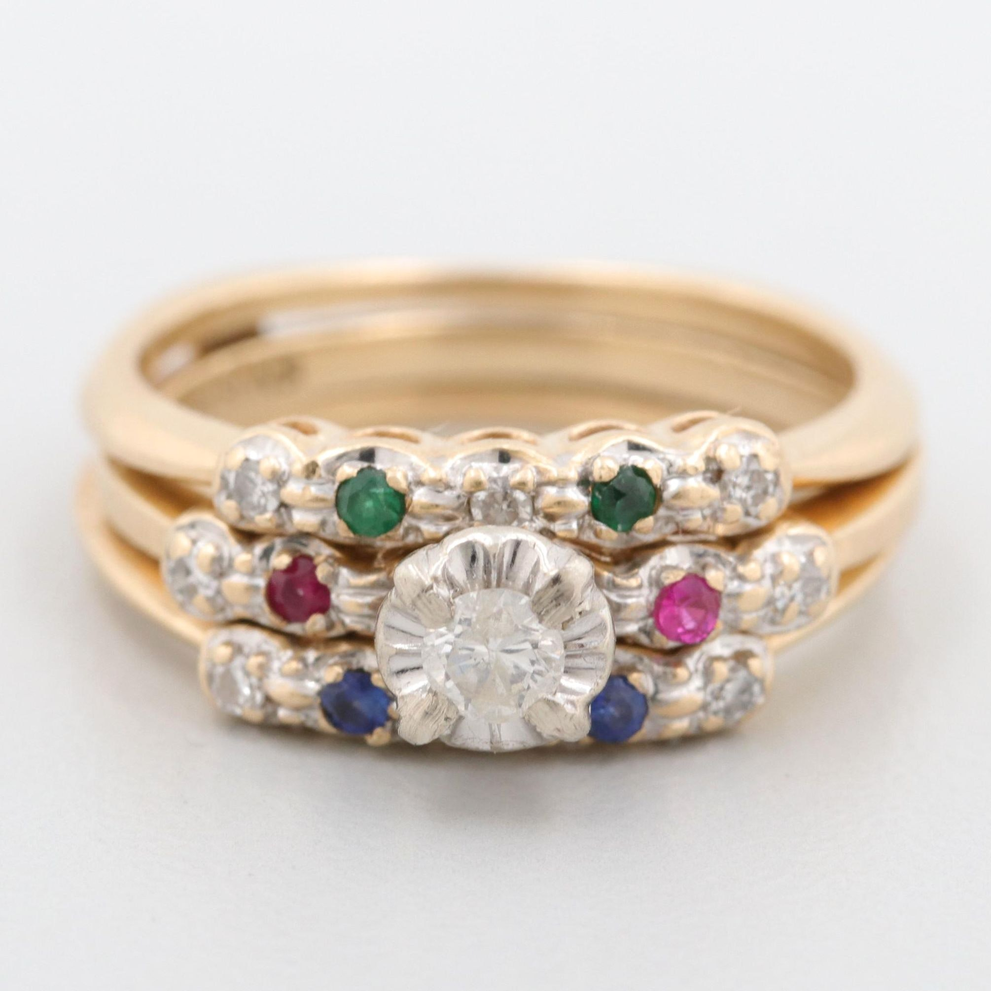 14K Diamond, Synthetic Ruby, Synthetic Spinel and Synthetic Emerald Ring Set