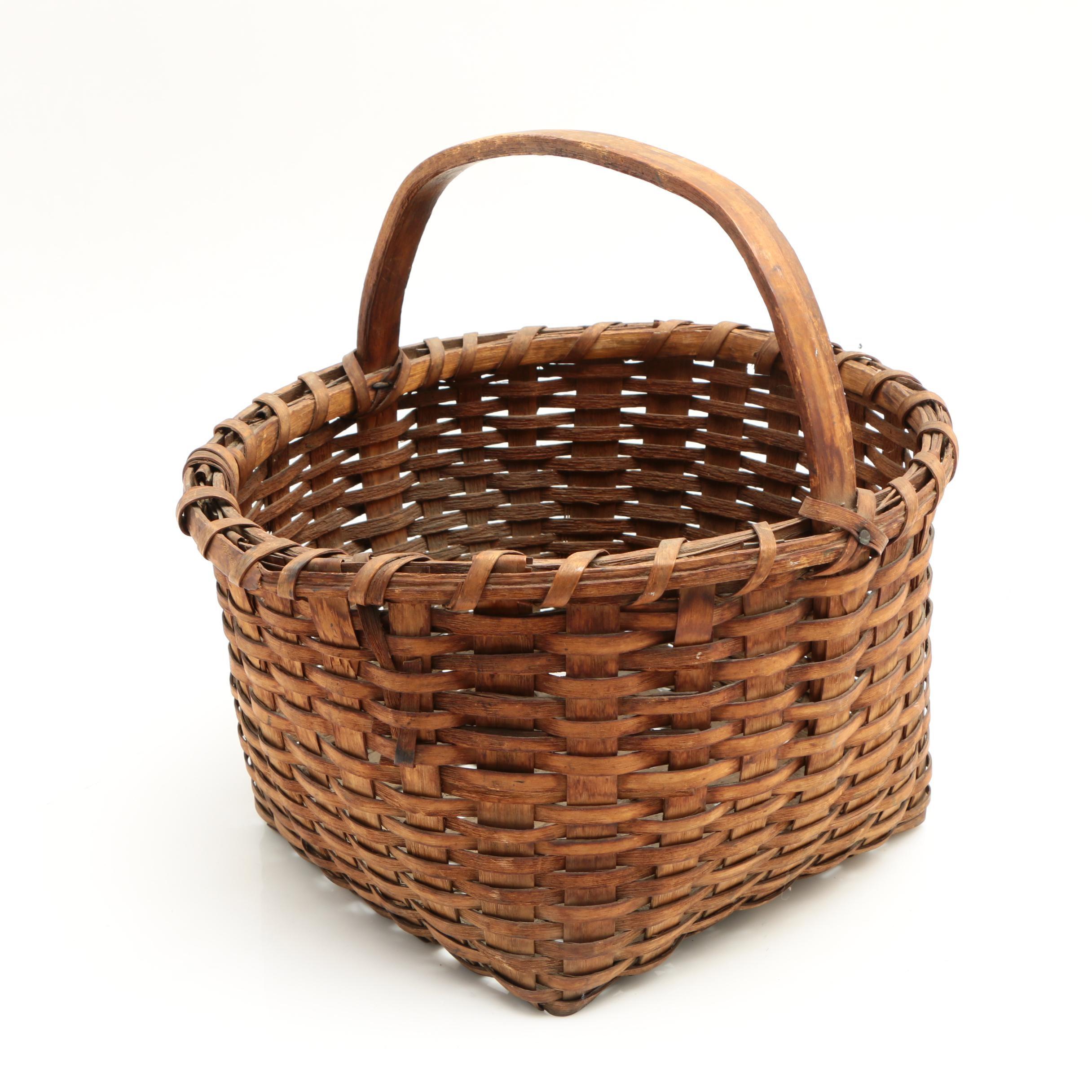 Splint Woven Handled Basket, Early 20th Century