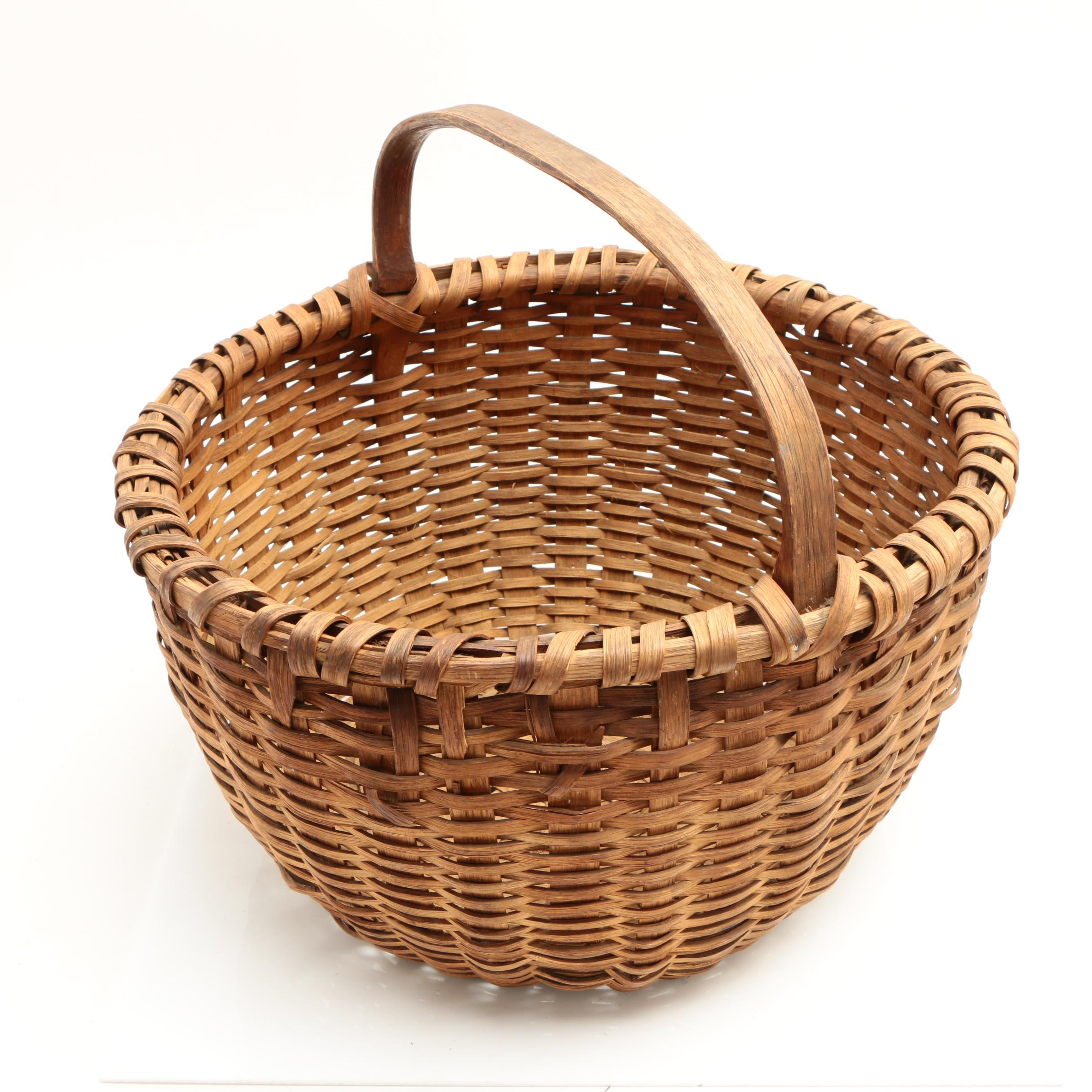 New England Splint Woven Round Handled Basket, Early 20th Century