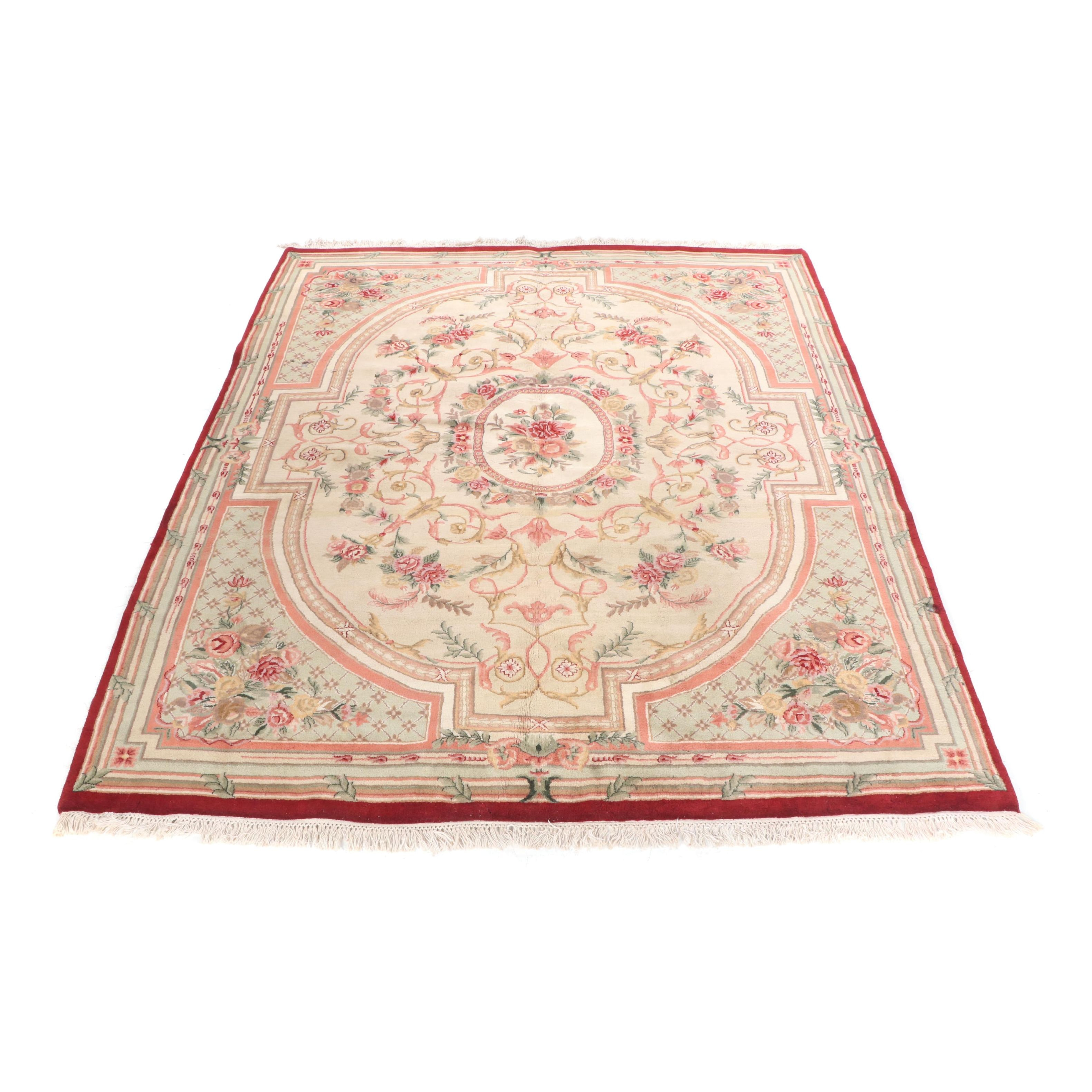 Hand-Knotted Indian Aubusson Wool Rug
