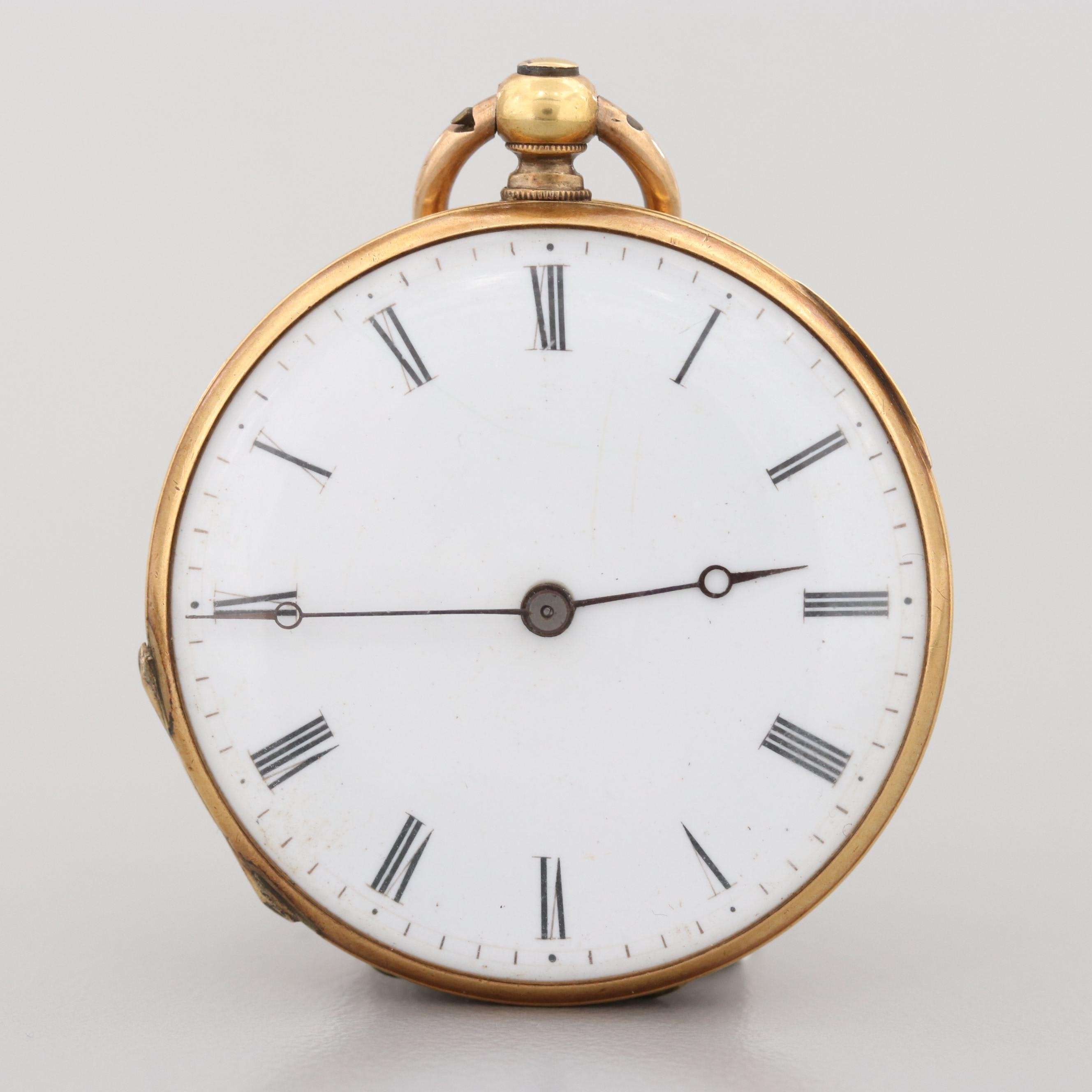 European 18K Yellow Gold Pocket Watch, Late 1800s