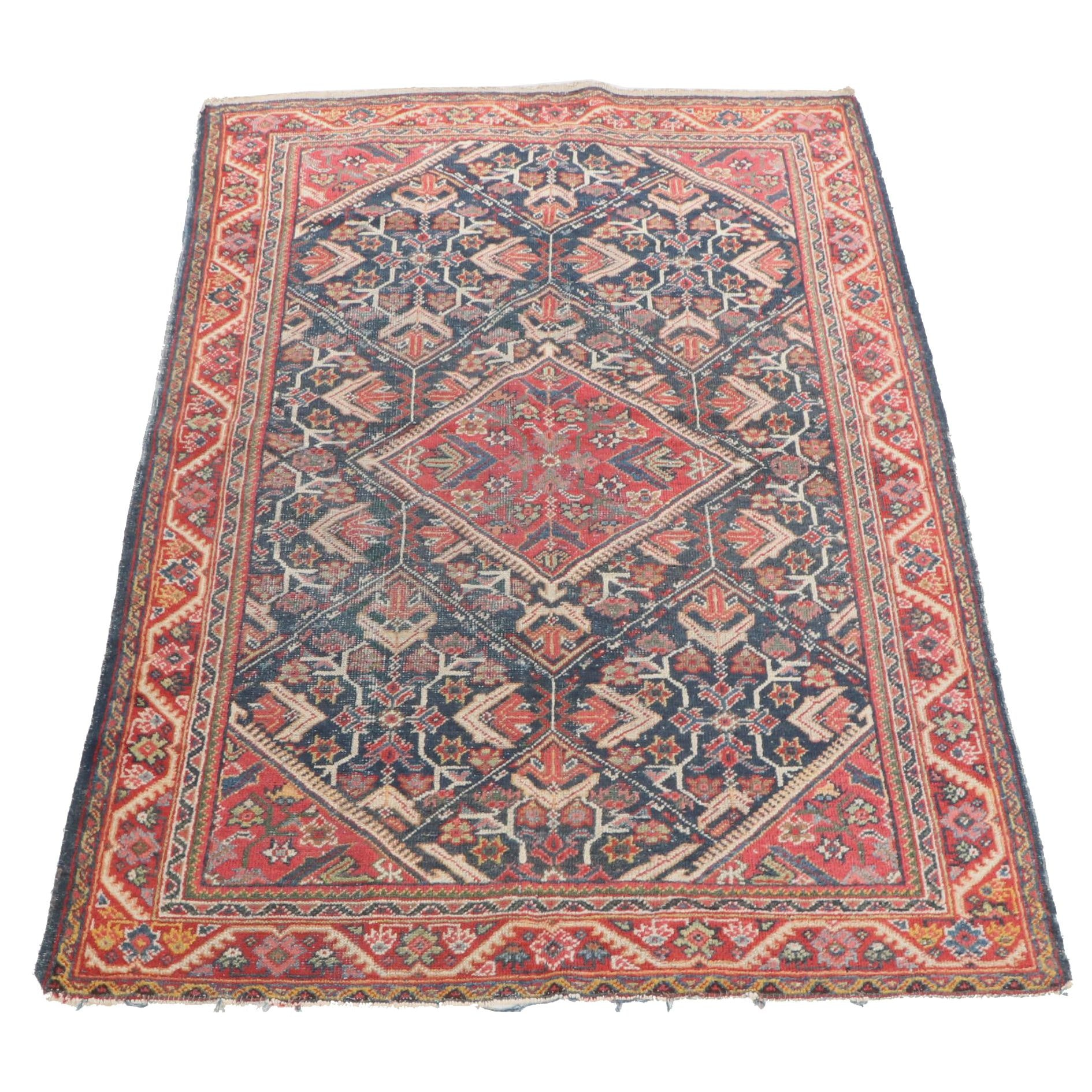 Hand-Knotted Persian Mahal Wool Rug, Early 20th Century