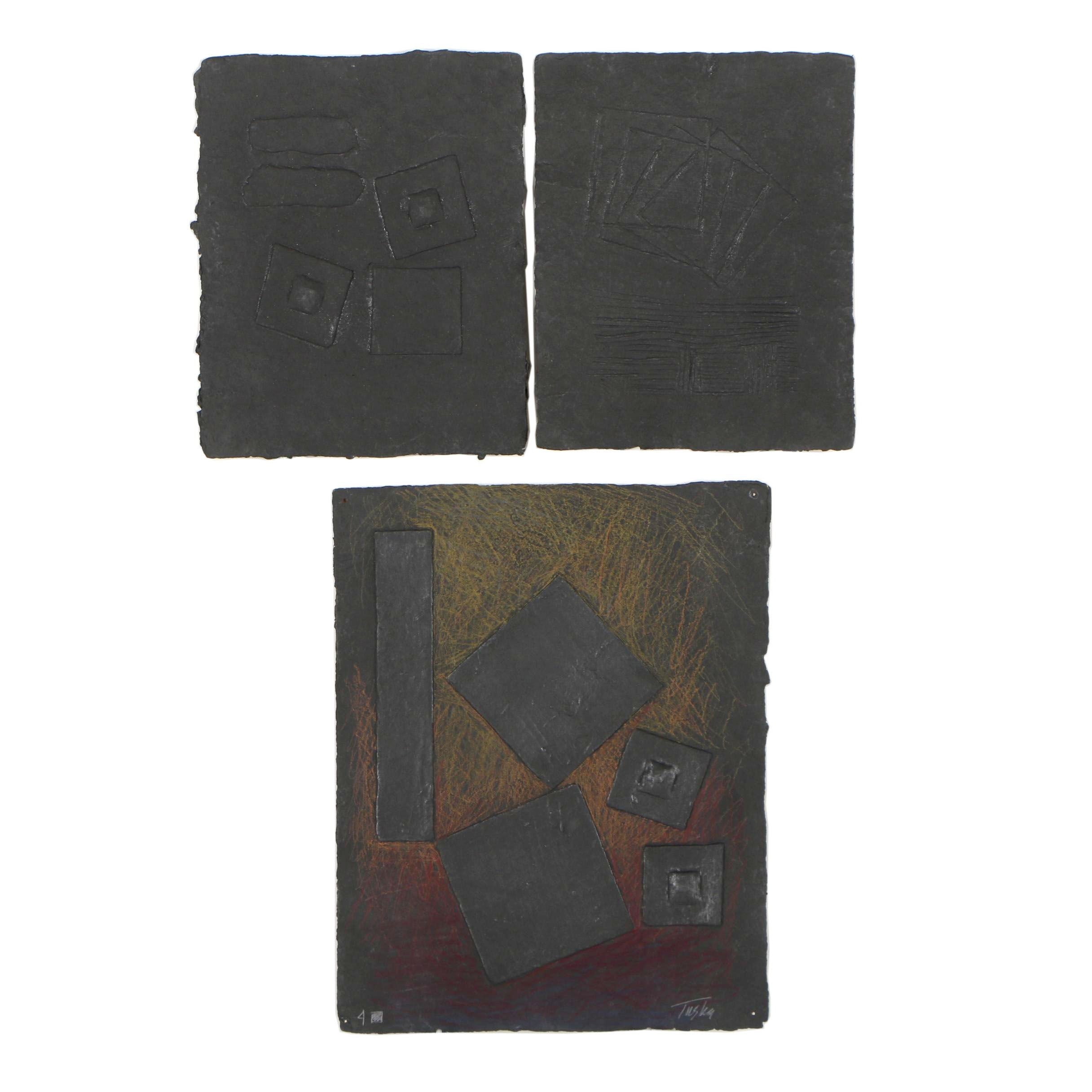 "John Tuska Abstract Cast Paper Reliefs ""4 Squares"""