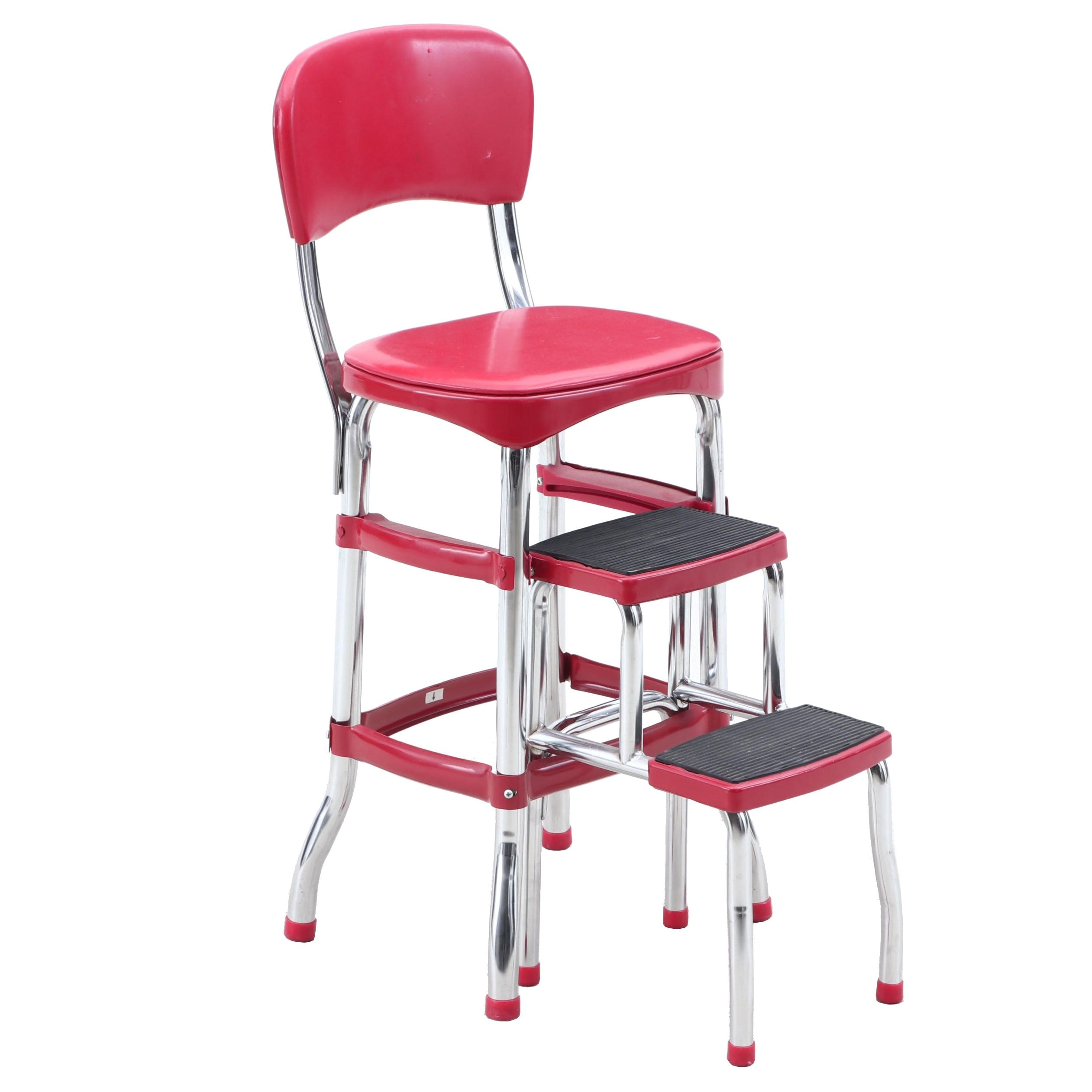 Retro Vinyl and Chrome Step Stool Chair in Red
