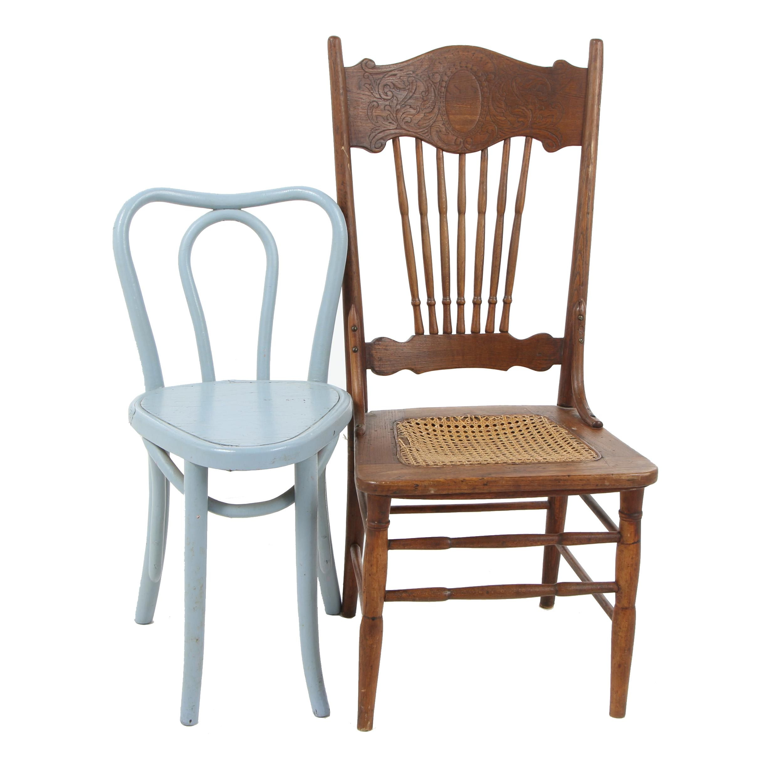 Pressed Back Cane Seat Oak Chair with Other Painted Wood Chair