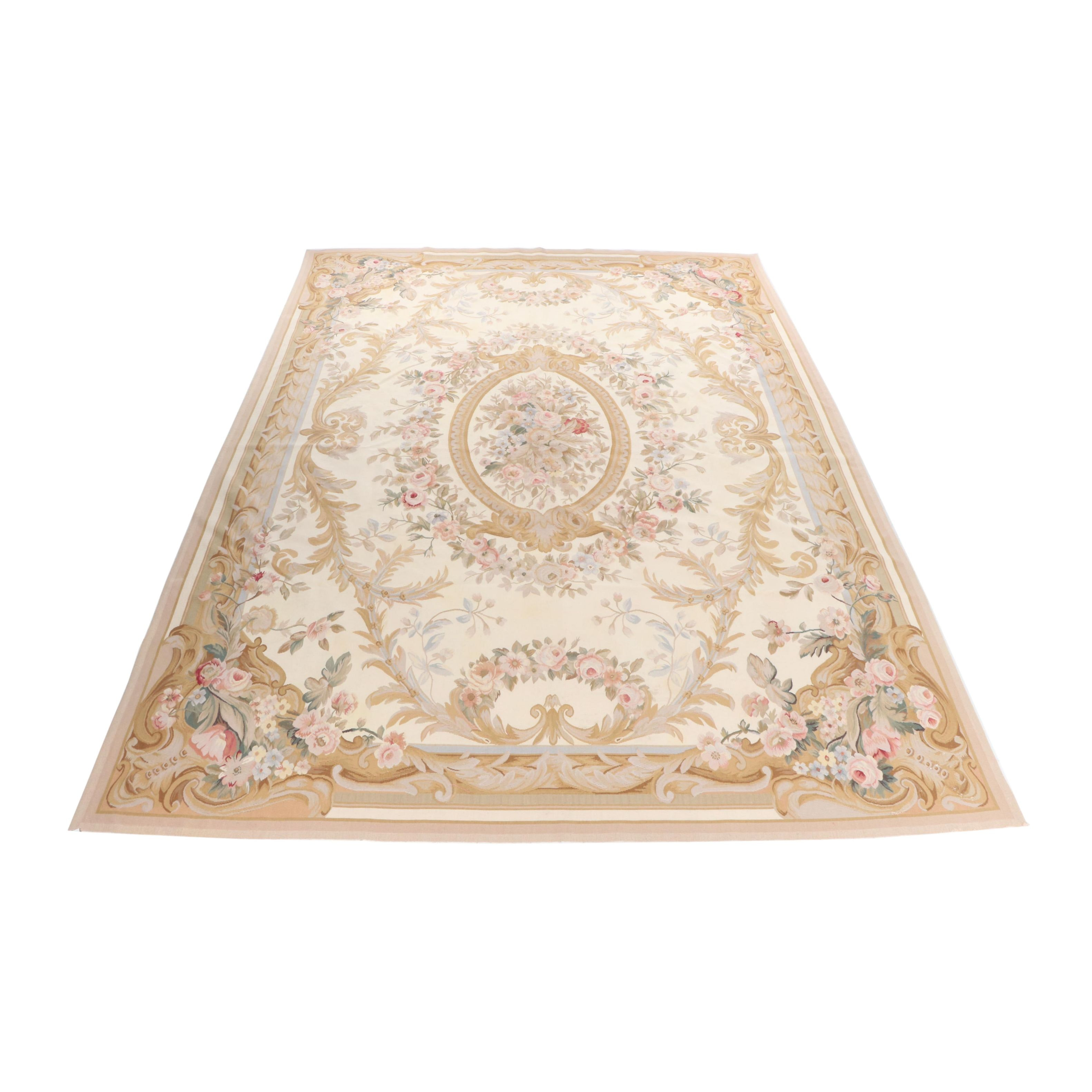 Handmade Indian Aubusson Style Woven and Needlepoint Rug