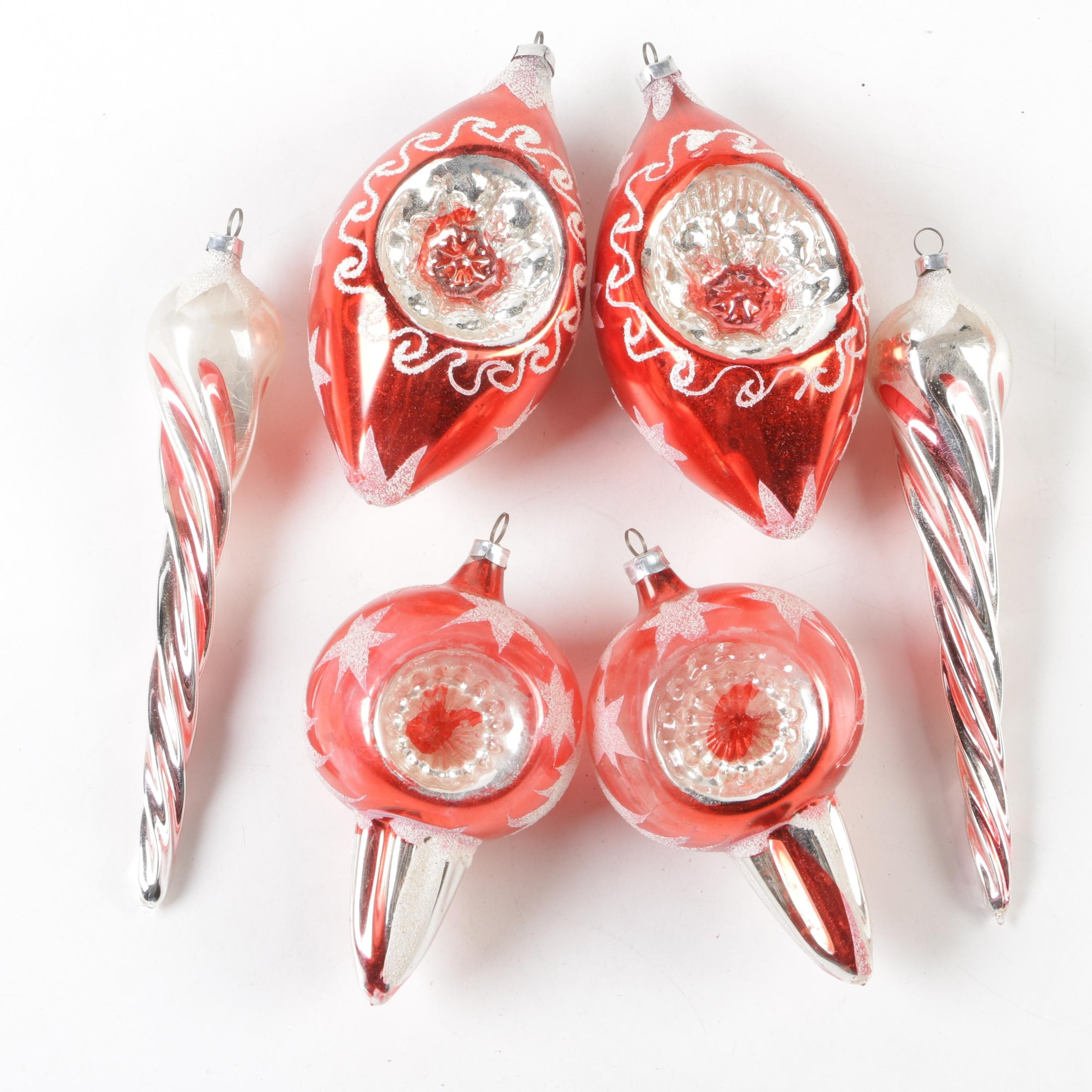 Shiny Brite West German Glass Christmas Ornaments, Mid-Century