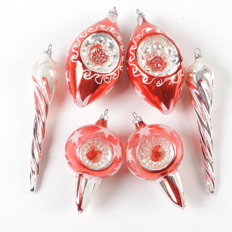Shiny Brite West German Glass Christmas Ornaments Mid Century