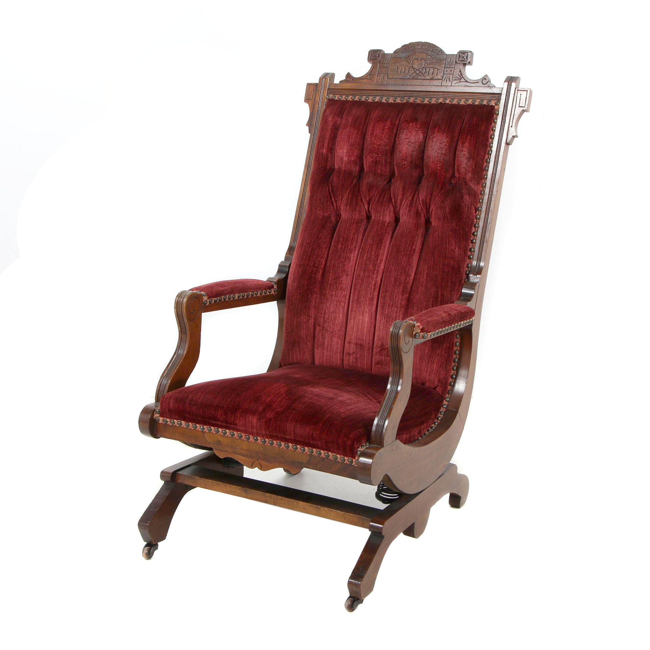 Eastlake Victorian Carved Walnut Platform Rocker, circa 1900
