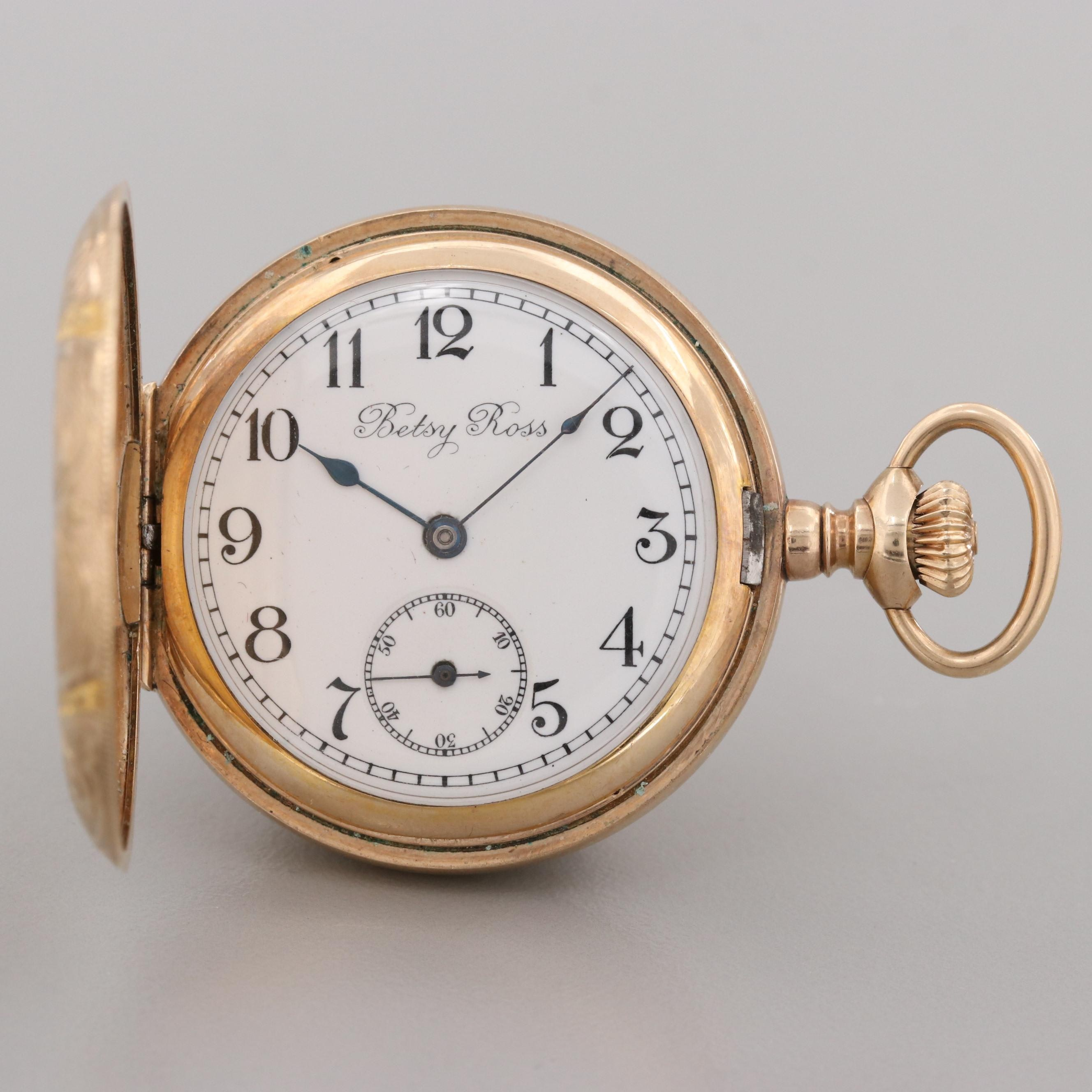 Betsy Ross U.S. Watch Co. of Waltham Gold Filled Pocket Watch