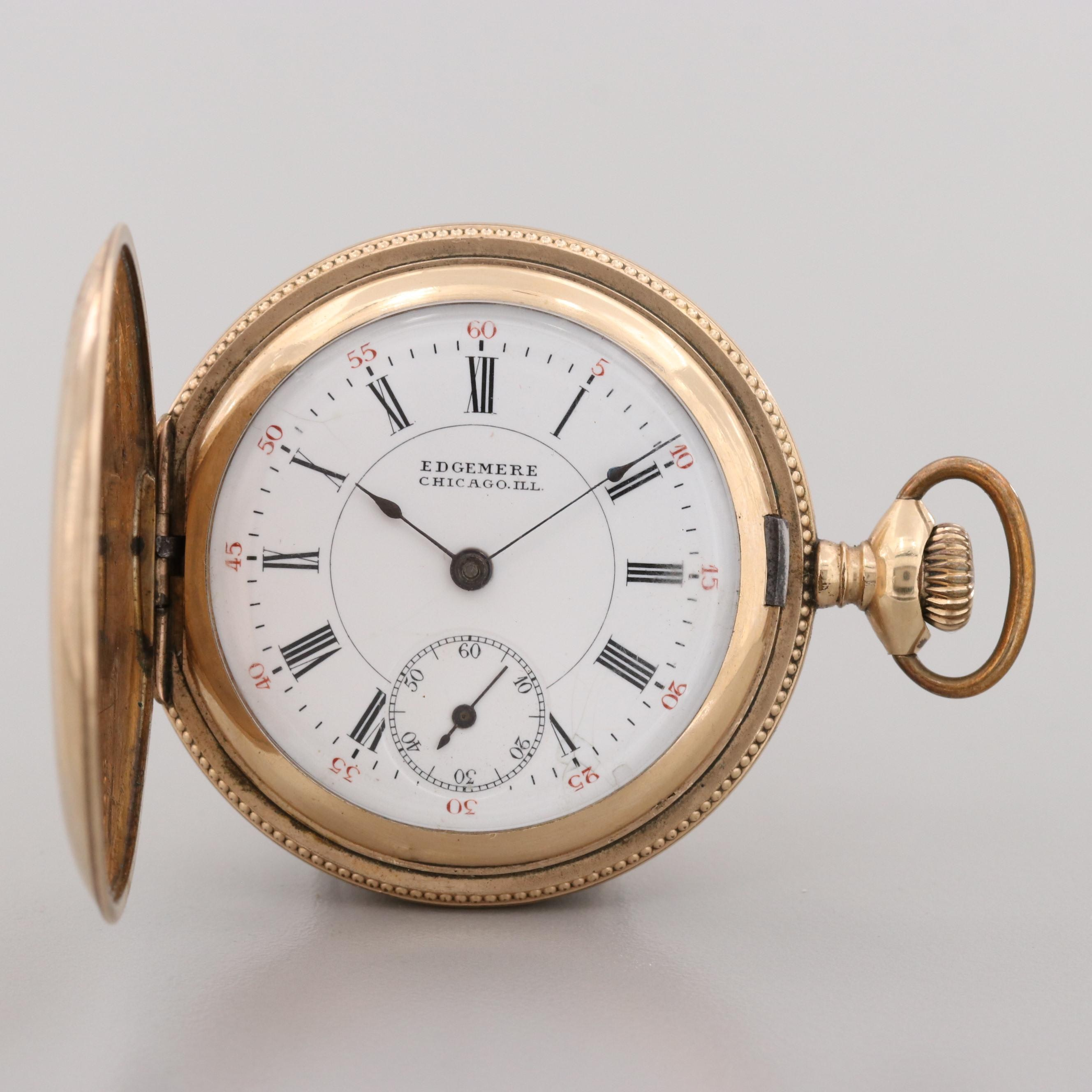 Swiss Gold Filled Pocket Watch By Edgemere