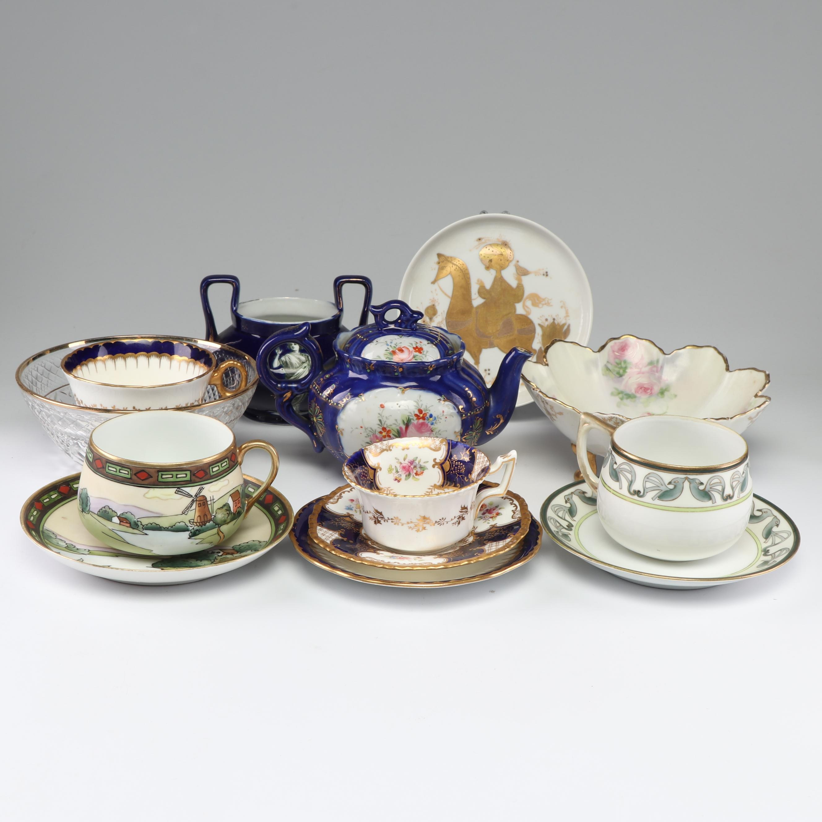 Porcelain Tea Serveware Including Nippon and Coalport, Early to Mid 20th Century