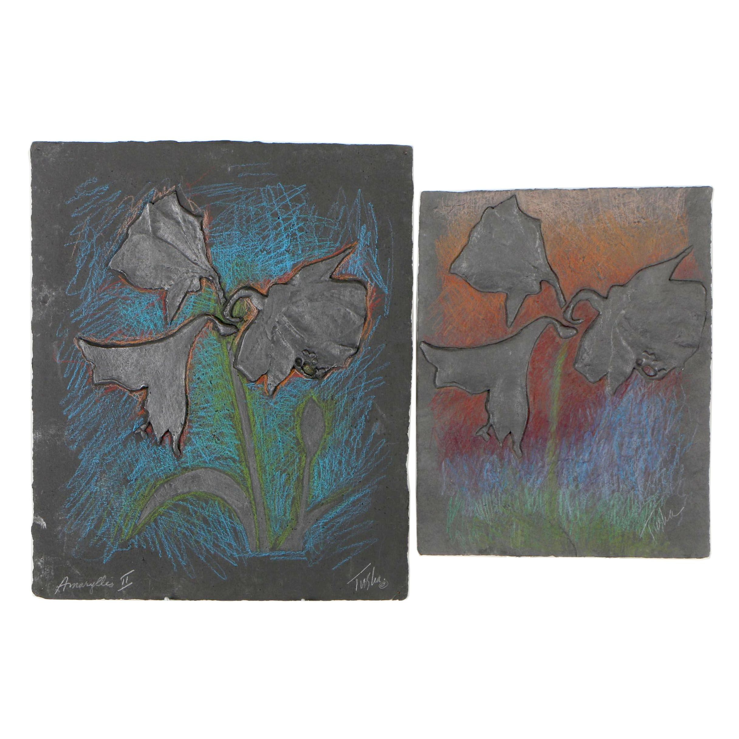 "John Tuska Abstract Cast Paper Reliefs ""Amaryllis II"""