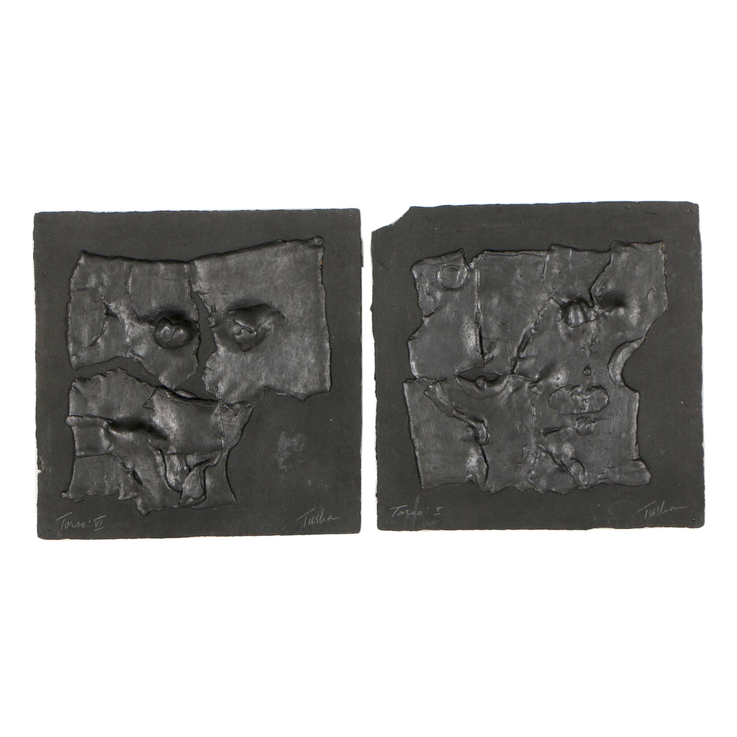 "John Tuska Abstract Cast Paper Reliefs ""Torso: I"" and ""Torso: VI"""