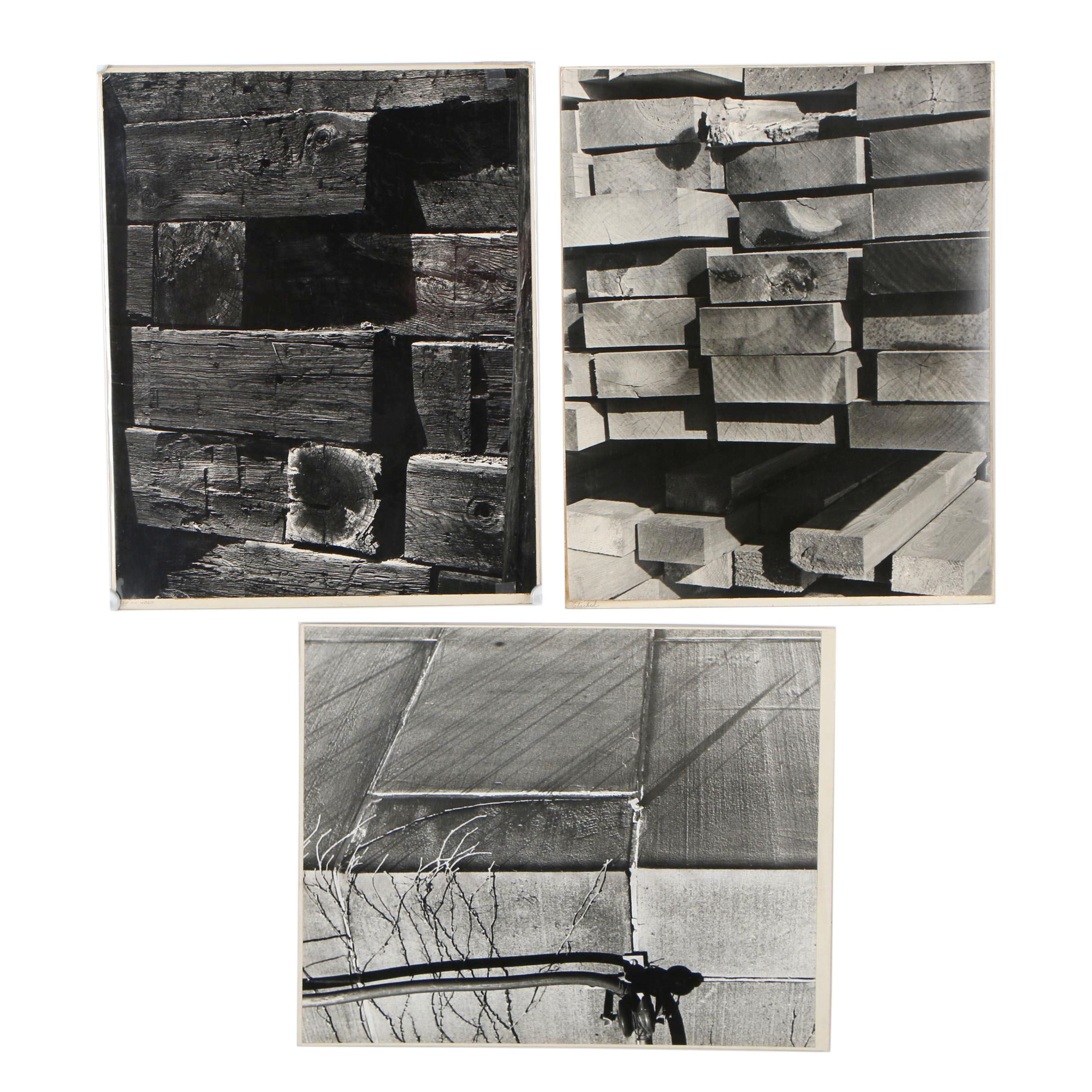 """Warren Geib 1969 Silver Gelatins Photographs """"Stacked"""" and """"Sun on Wood"""""""