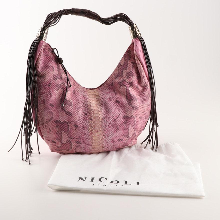 4471ec9c19d3 Nicoli Python and Ostrich Embossed Leather Hobo Handbag : EBTH