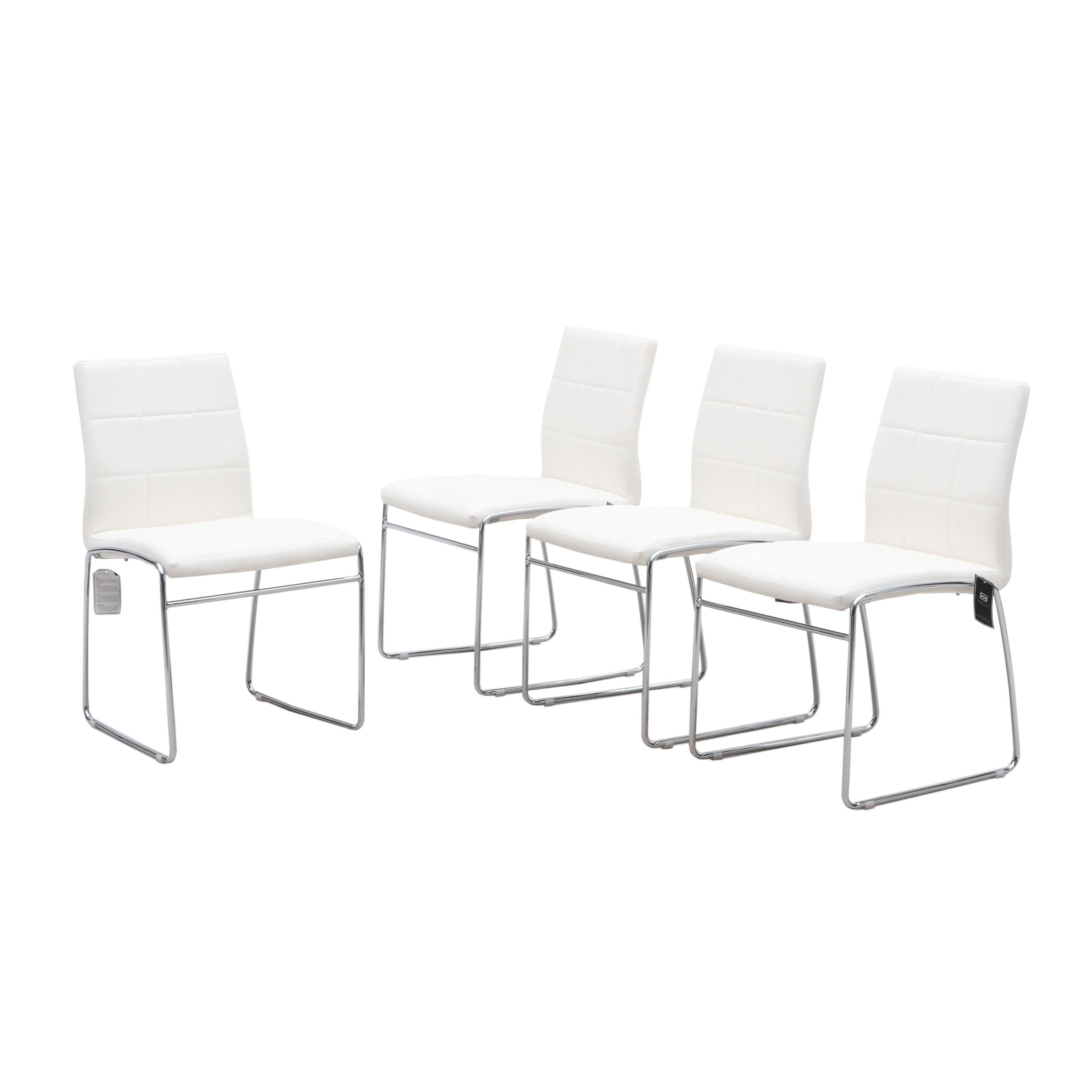 Excella Furniture Leather and Chrome Side Chairs in White