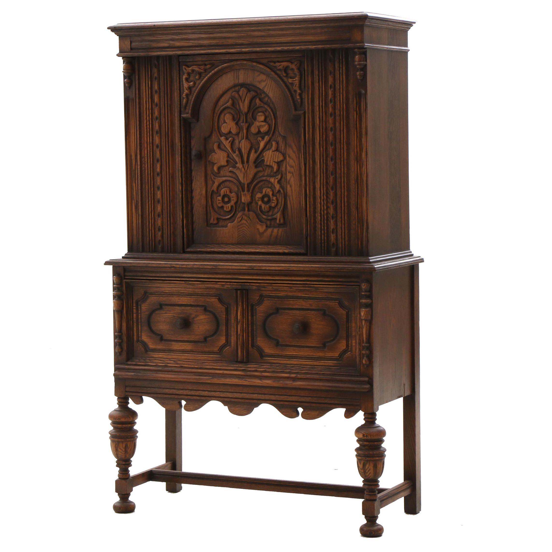 Jacobean Revival Style Oak Buffet Cabinet