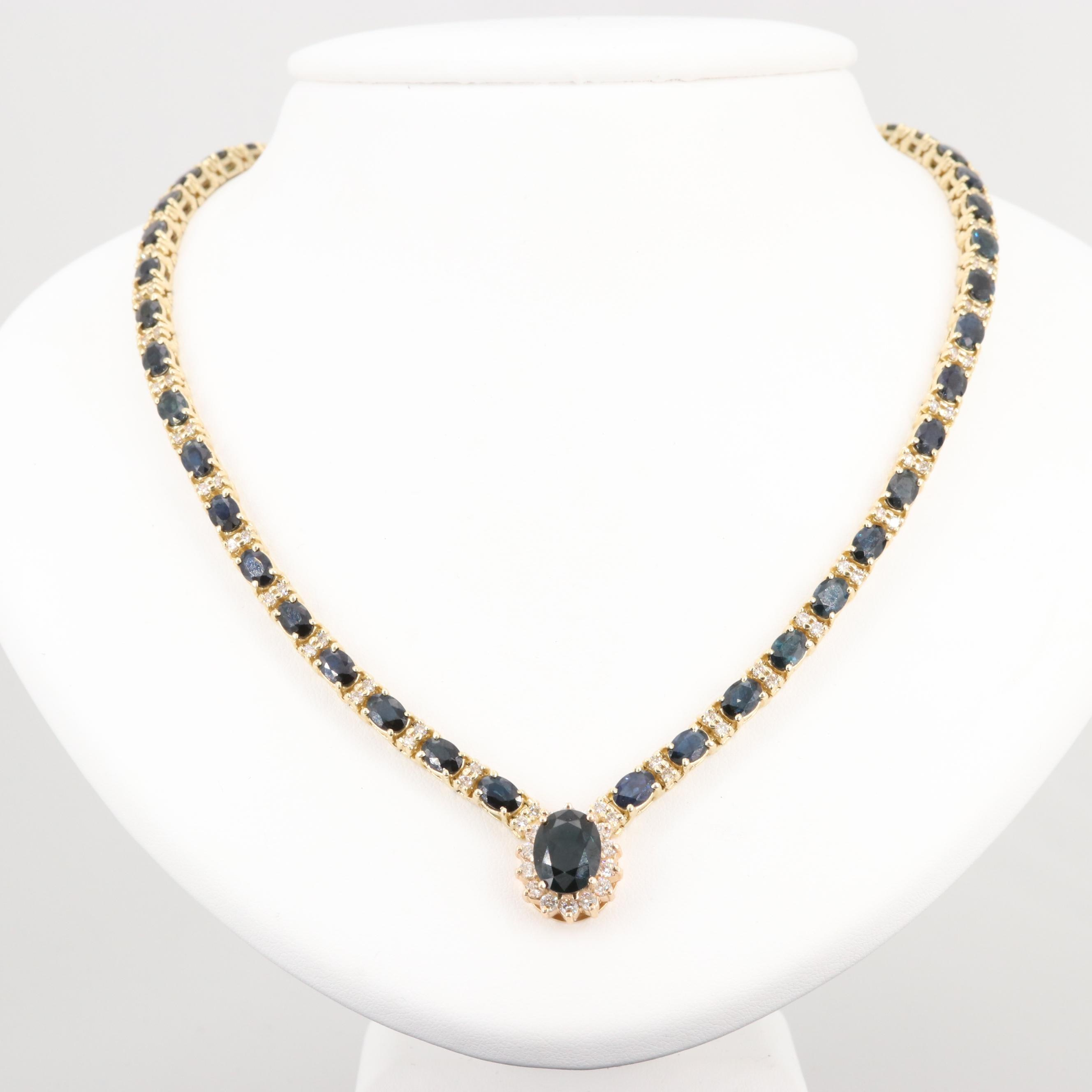 14K Yellow Gold 22.72 CTW Sapphire and 3.14 CTW Diamond Necklace