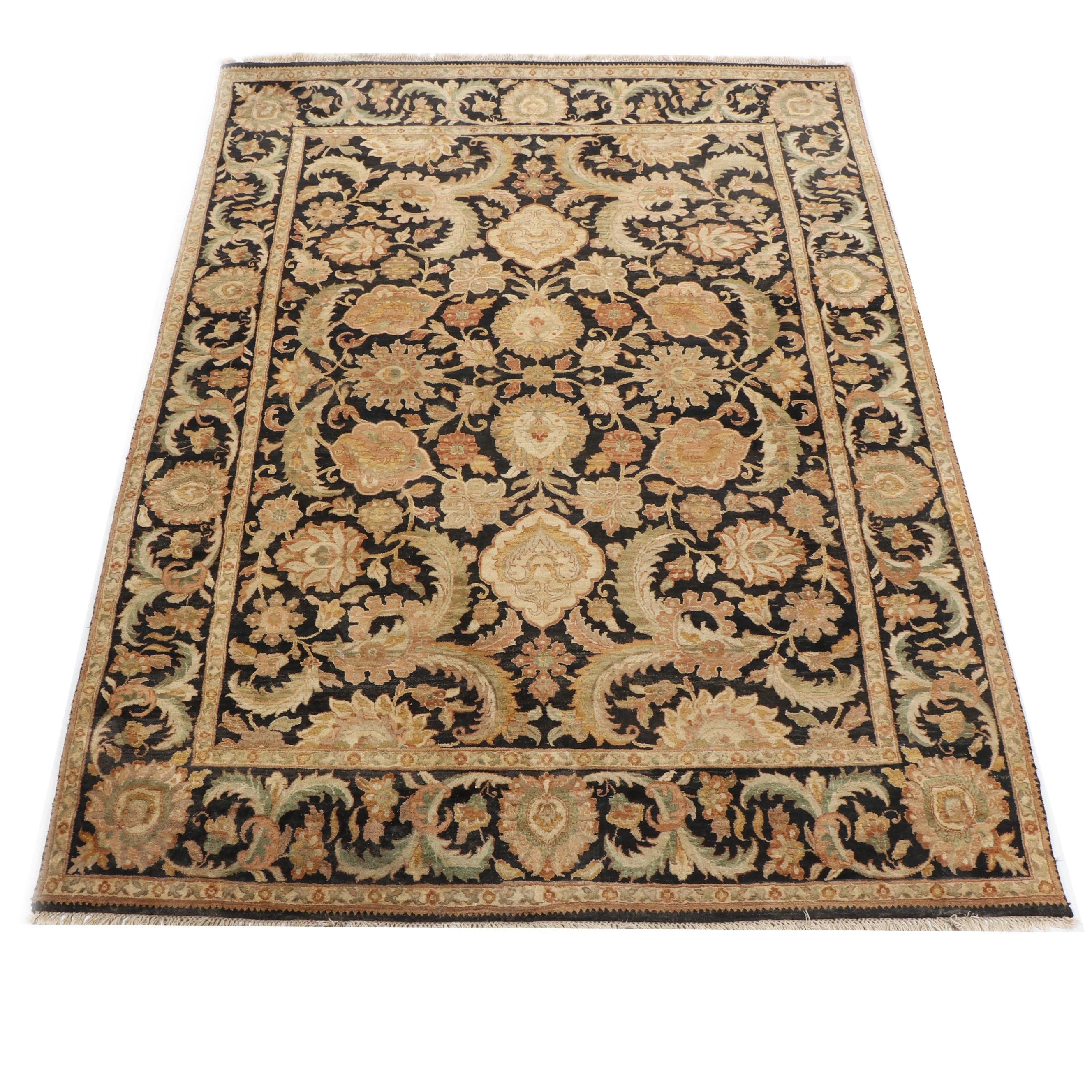 Hand-Knotted Indian Agra Style Wool Rug