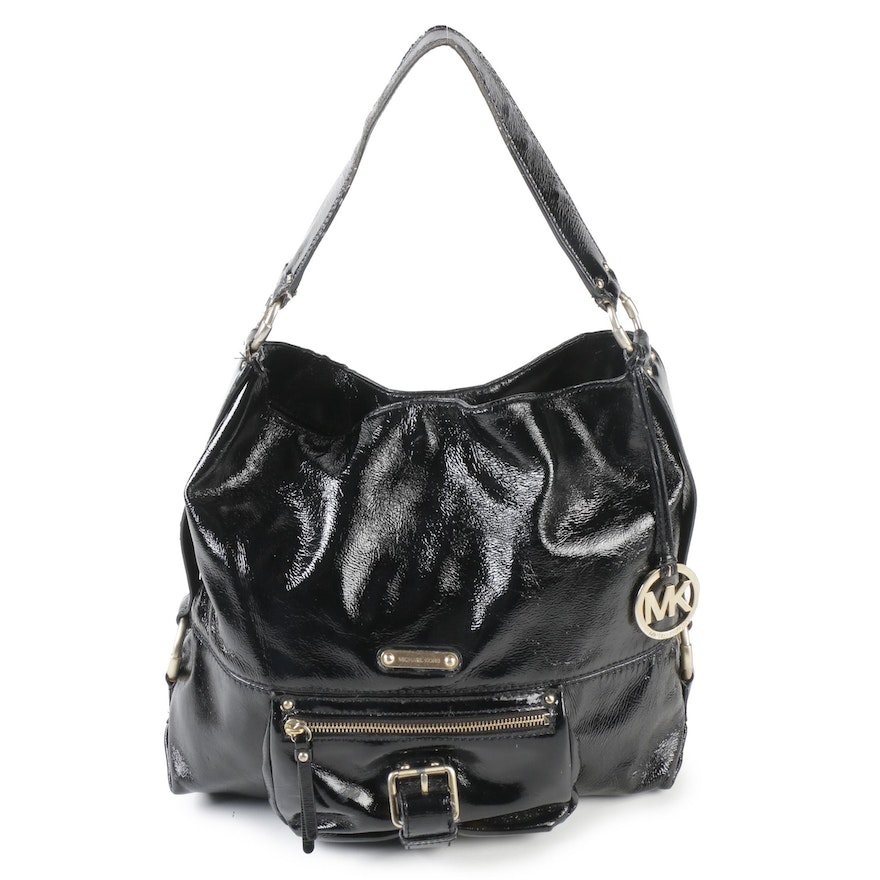 3e076c682703 MICHAEL Michael Kors Black Patent Leather Soft Hobo Bag : EBTH