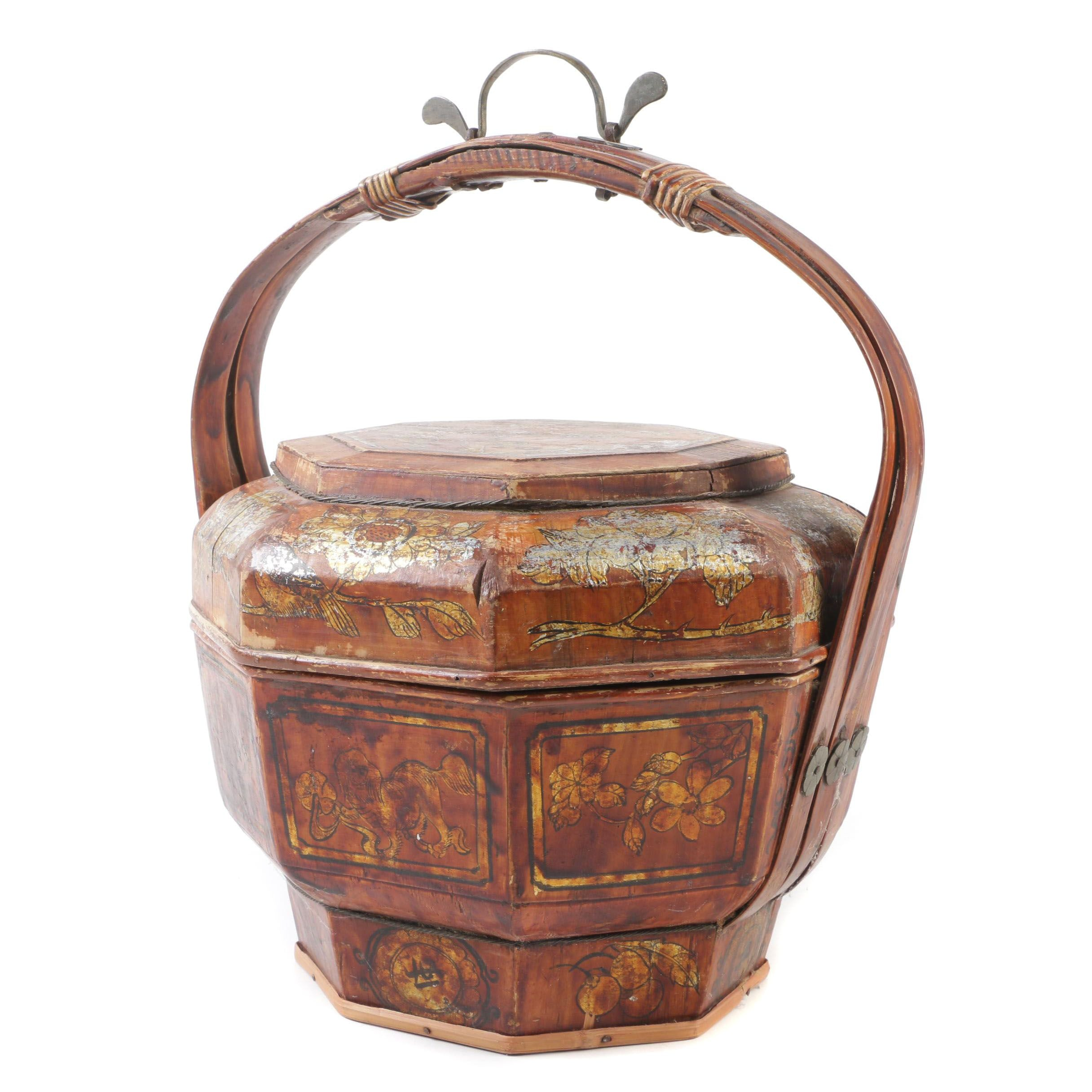 Chinese Painted and Parcel Gilt Wooden Basket