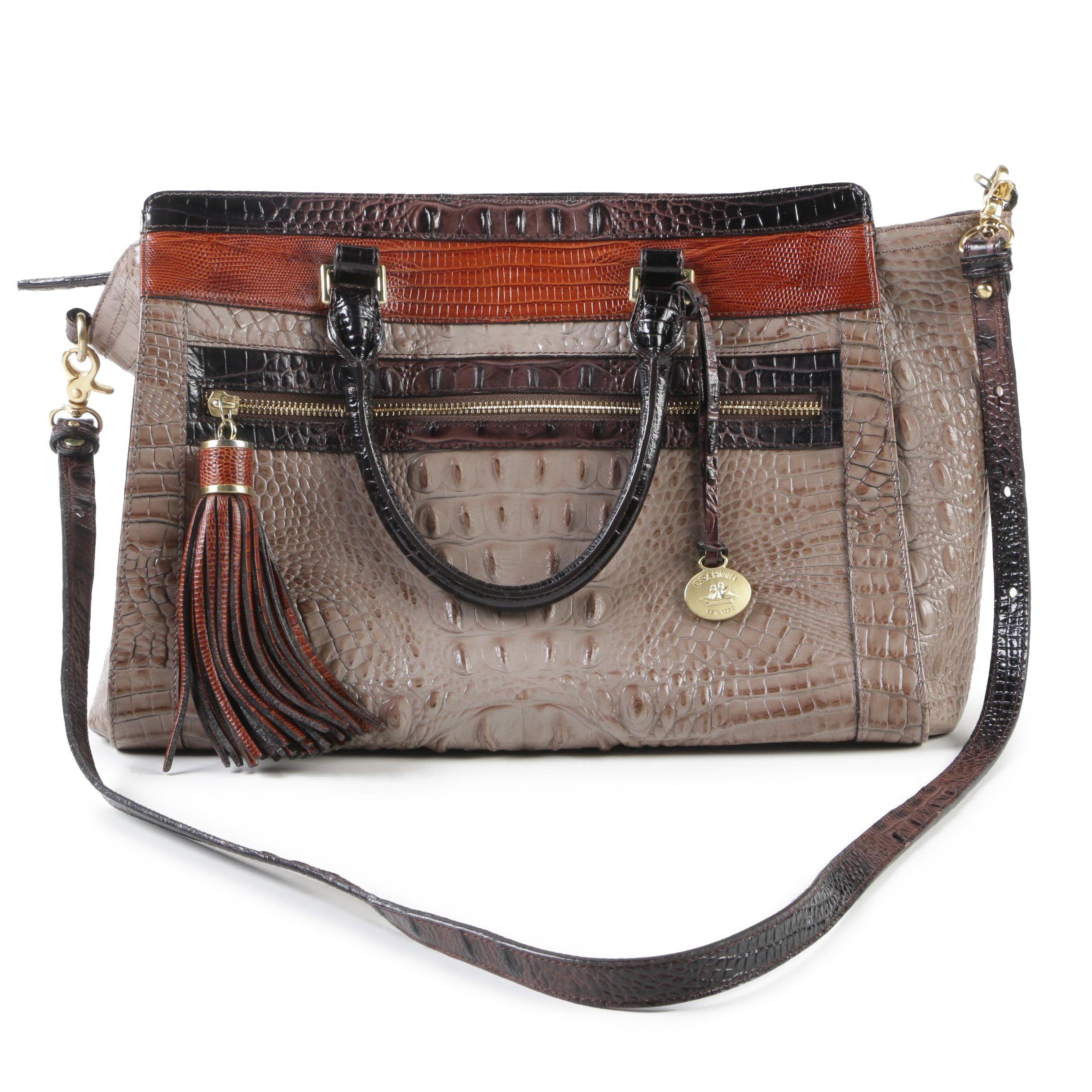 Brahmin Tri-Color Embossed Leather Melbourne Collection Harper Satchel