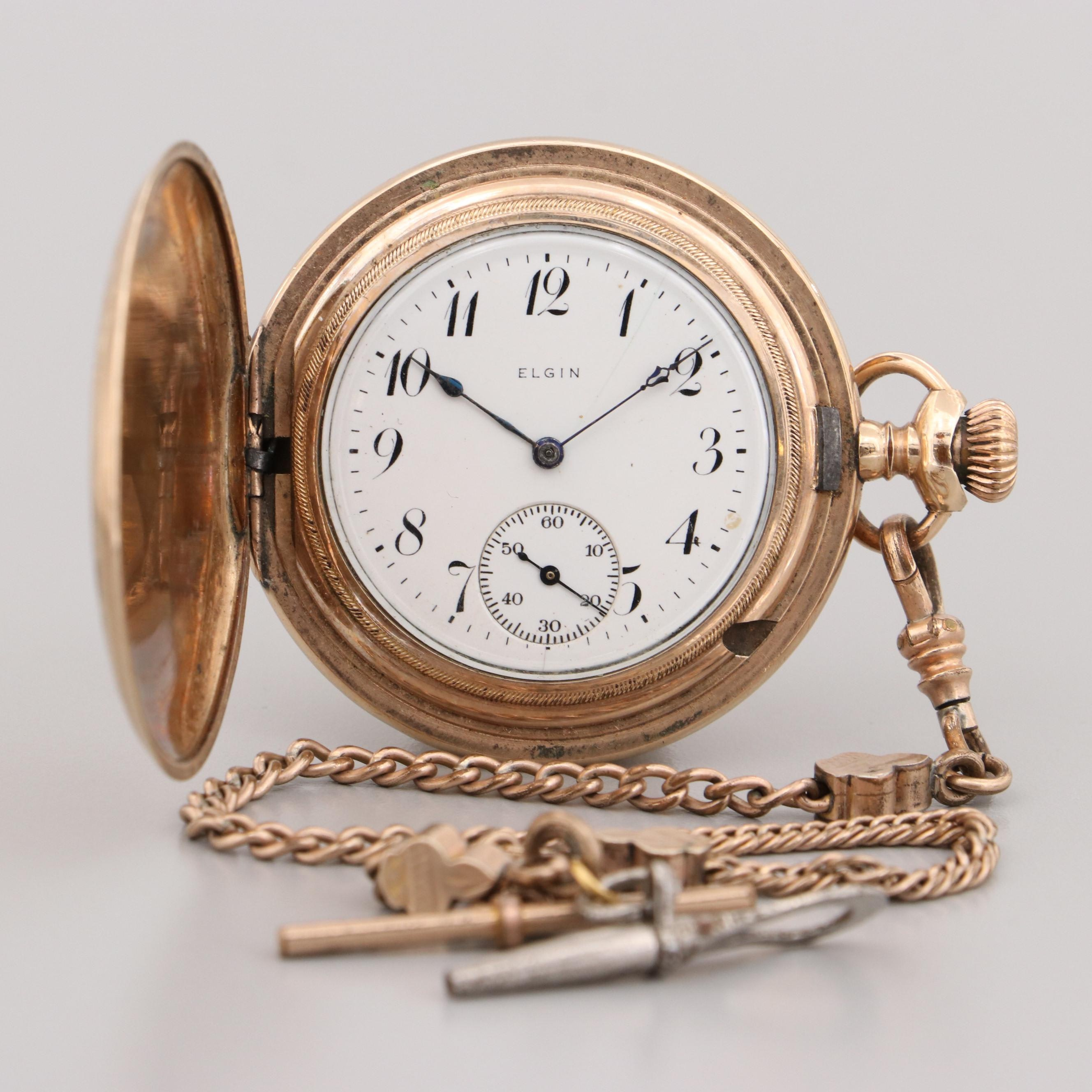 Antique Elgin Gold Filled Pocket Watch With Fob Chain